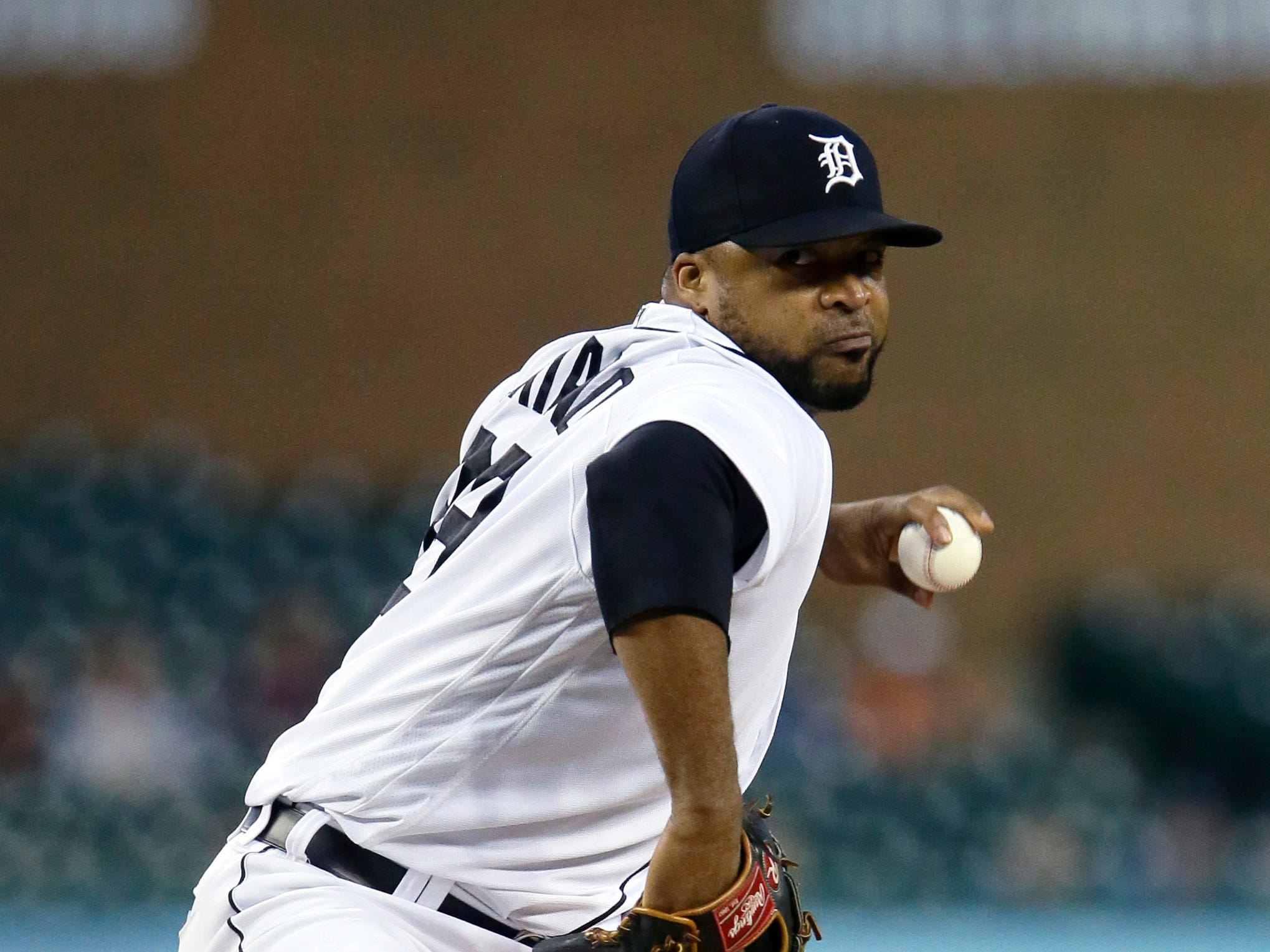 Detroit Tigers' Francisco Liriano pitches against the Kansas City Royals during the second inning at Comerica Park on Sept. 21, 2018 in Detroit.