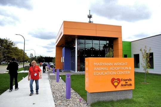 Elaine Greene stands outside new MaryAnn Wright Animal Adoption & Education Center, which is celebrating its grand opening this week, in Dearborn, Michigan on September 22, 2018.