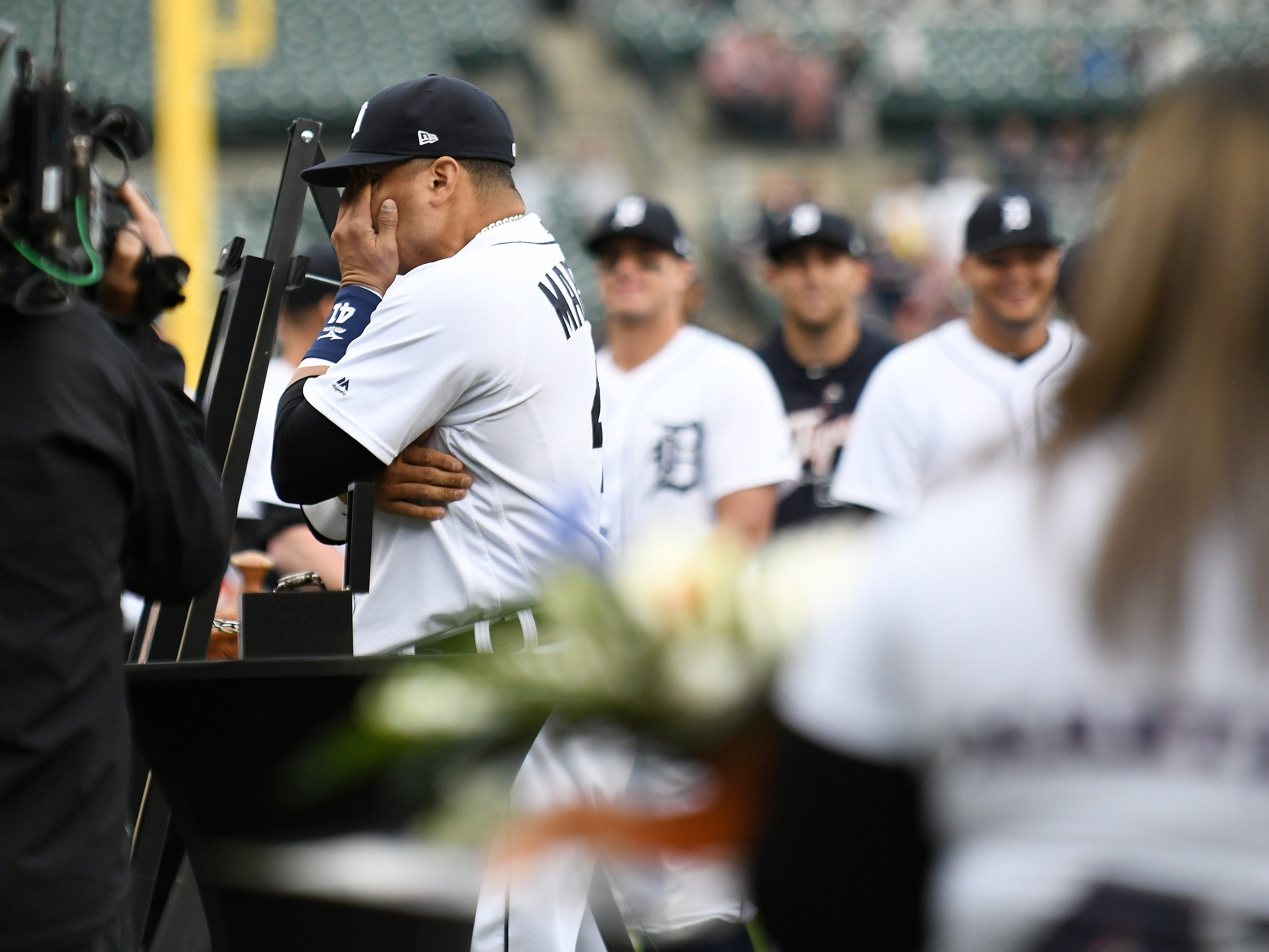 Victor Martinez has a moment after the special tribute ceremony celebrating his 16 year career.
