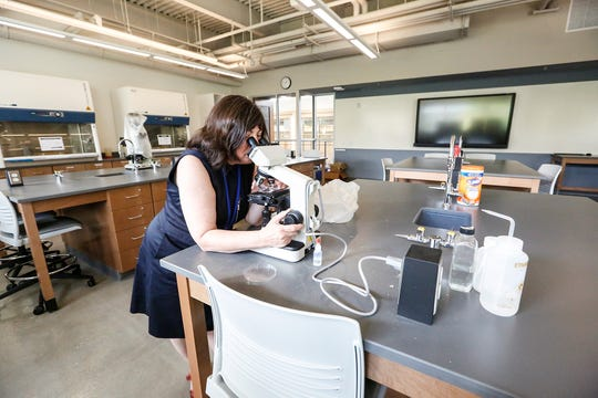 Microbiology professor Dr. Susan Bornstein-Forst looks at a slide under a microscope Friday in the new Dr. Richard and Leslie Ridenour Science Center on the Marian University campus.