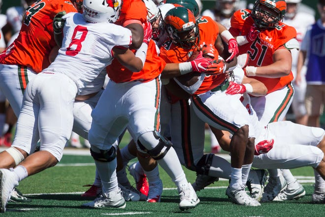 CSU running back Marvin Kinsey is stuffed at the line of scrimmage by Illinois State defenders during a Sept. 22 game at Canvas Stadium. The Redbirds won 35-19, dropping the Rams to 1-4 on the season. No CSU team has ever recovered from a 1-4 start to finish with a winning record.