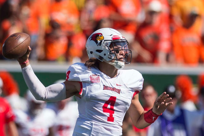 Illinois State University junior quarterback Brady Davis (4) looks to pass during a game against Colorado State University on Saturday, Sept. 22, 2018, at Canvas Stadium in Fort Collins, Colo.