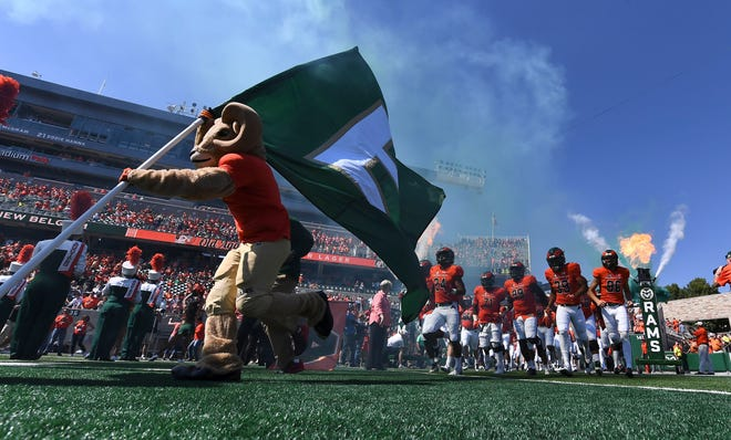 Sep 22, 2018; Fort Collins, CO, USA; Members of the Colorado State Rams hit the field before the start of the game against the Illinois State Redbirds at Canvas Stadium. Mandatory Credit: Ron Chenoy-USA TODAY Sports