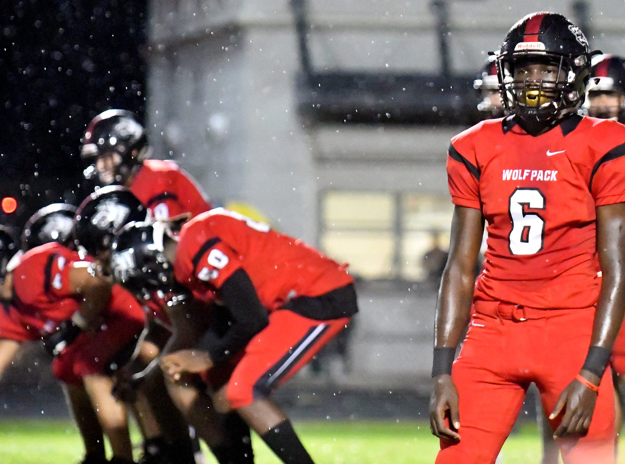 South Fort Myers High School wide receiver Julian Durham (6) looks to the sidelines for the next play during their game with Palmetto Ridge High School in Fort Myers ,Friday, Sept. 21, 2018.