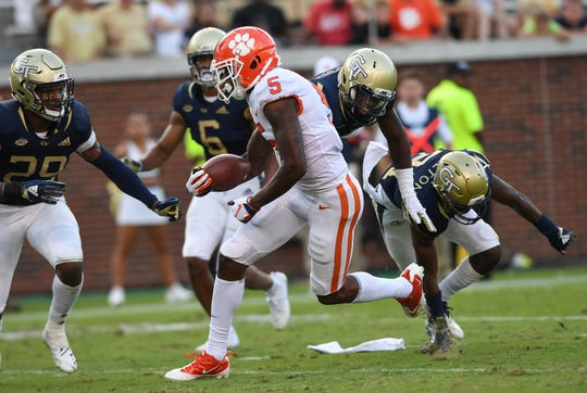 Clemson wide receiver Tee Higgins (5) breaks free to score against Georgia Tech during the 4th quarter at Georgia Tech's Bobby Dodd Stadium Saturday, September 22, 2018.