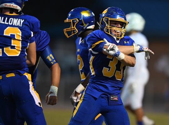 Wren's Jake Van Arsdale (33) reacts after a defensive stop against Broome Friday, September 21, 2018, at Wren High in Piedmont.