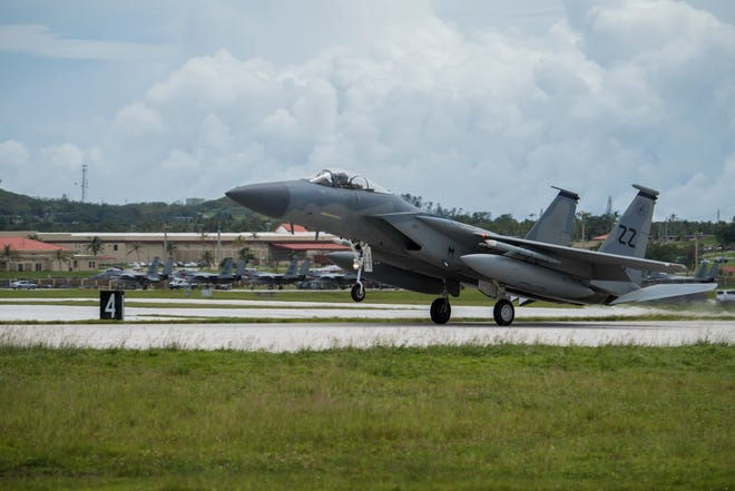 An Air Force F-15C Eagle from the 67th Fighter Squadron lands on Andersen Air Force Base, Guam in this Sept. 14, 2018, file photo. Andersen Air Force Base will host a military training exercise in the coming days.