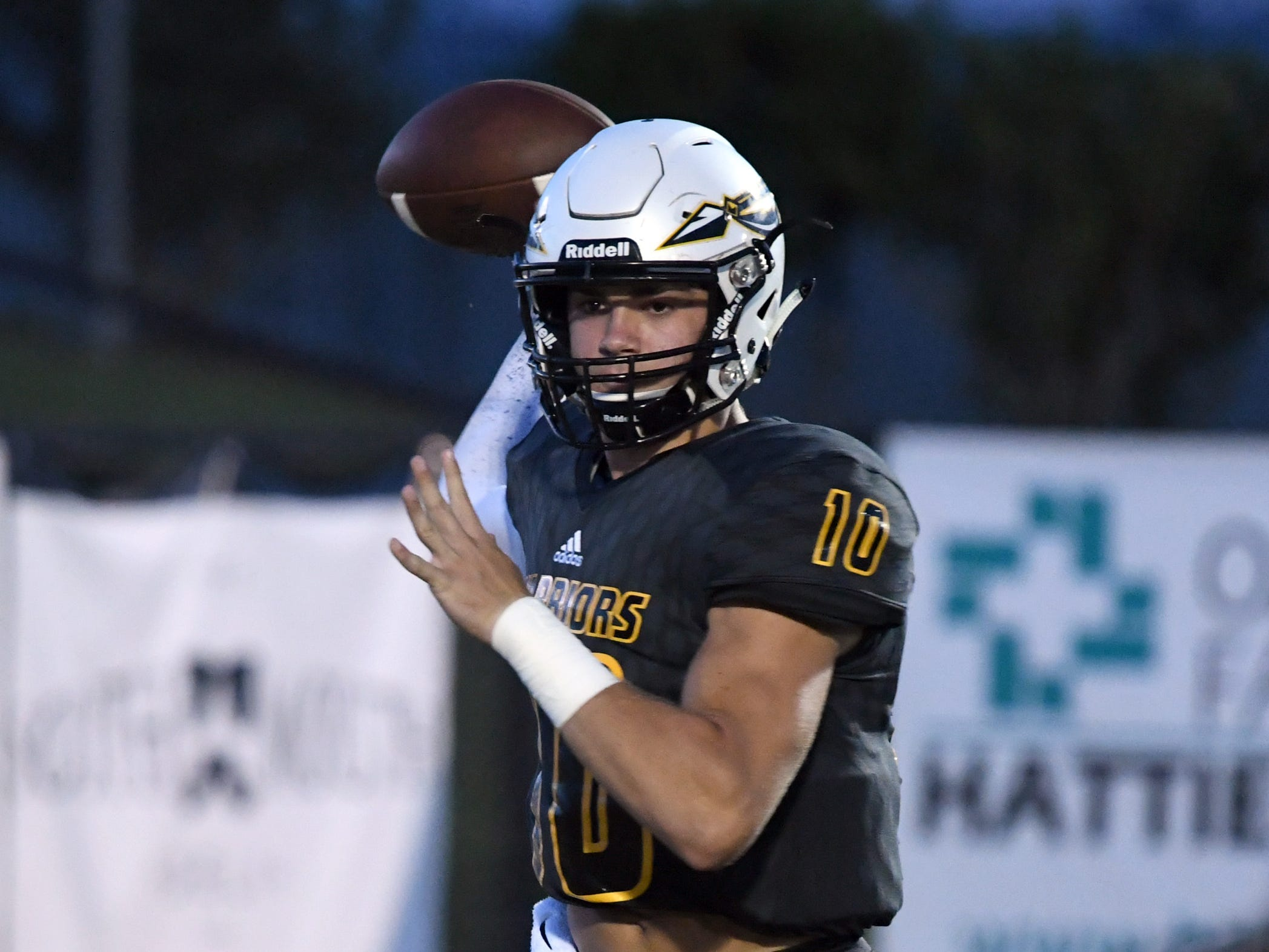 Oak Grove quarterback John Rhys Plumlee throws the ball in a game against George County in Hattiesburg on Friday, September 21, 2018.