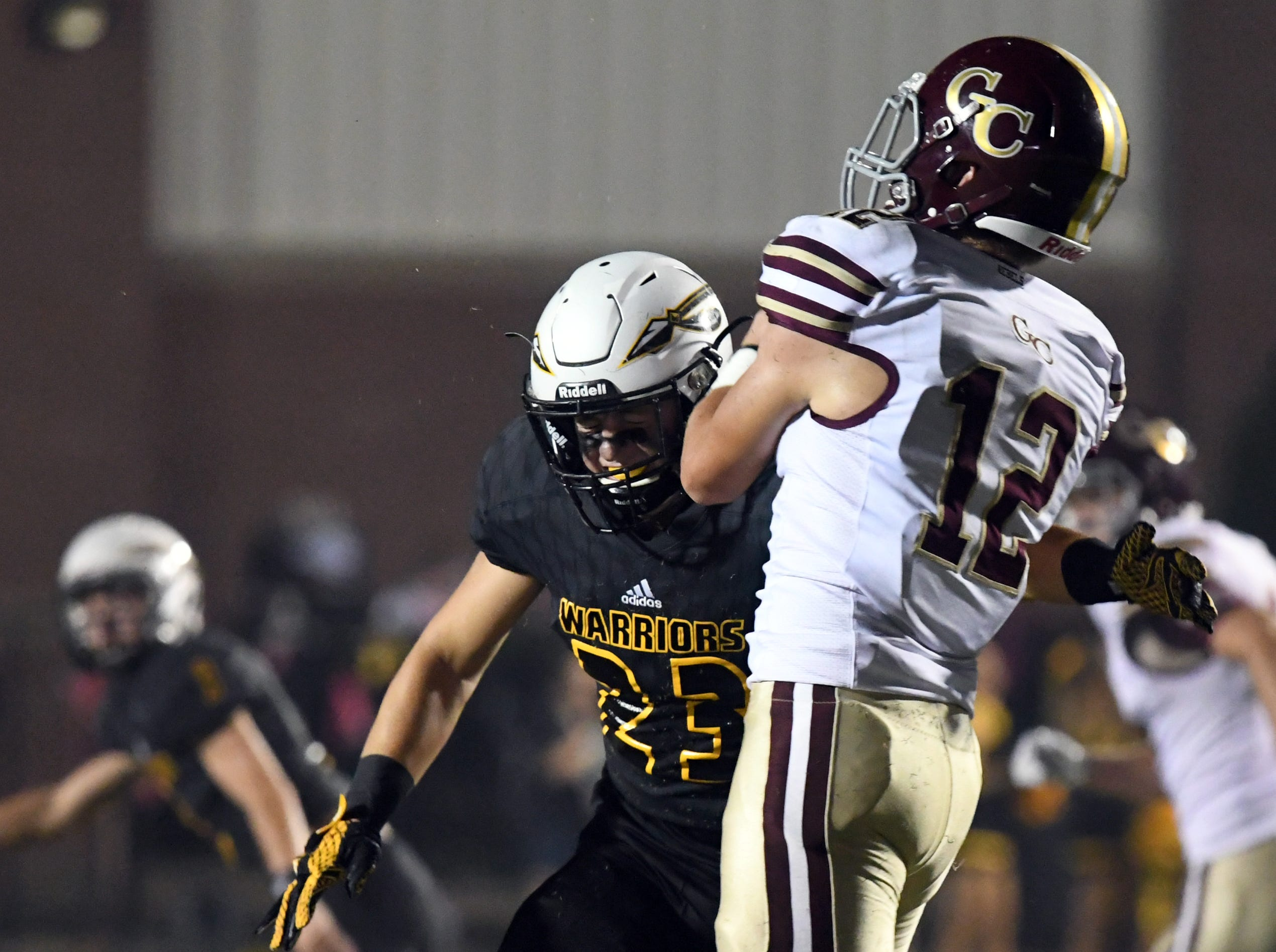 Oak Grove's Kade Shannon makes a tackle in a game against George County in Hattiesburg on Friday, September 21, 2018.