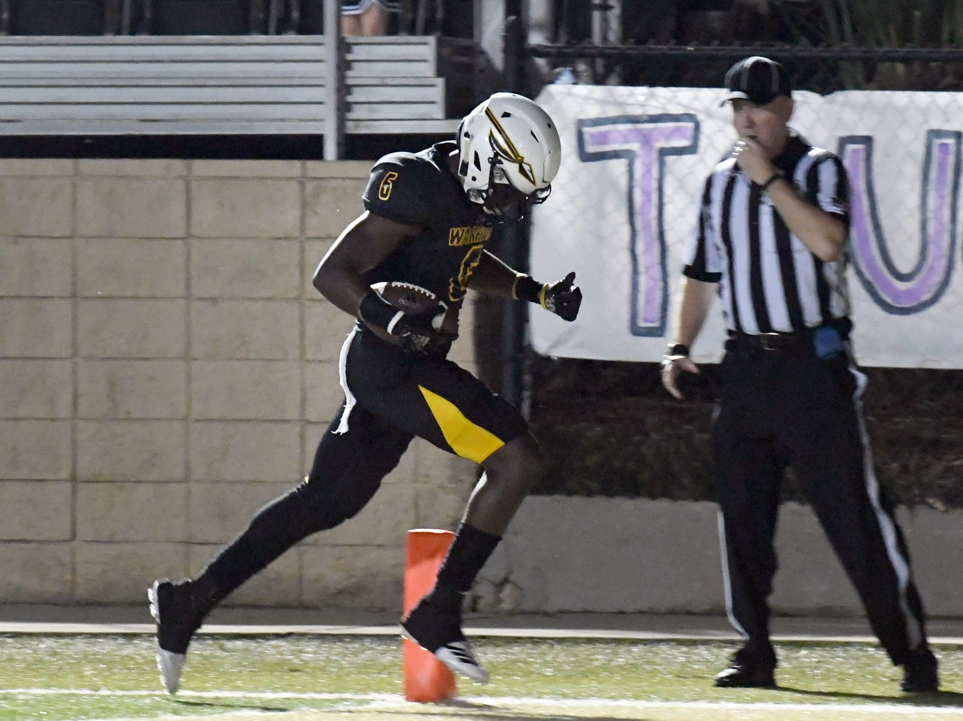 Oak Grove's Jarius Reimonenq scores a touchdown in a game against George County in Hattiesburg on Friday, September 21, 2018.