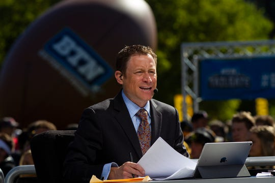 Dave Revsine, shown during a live tailgate show in Iowa City on Sept. 22, 2018, watched Tuesday's closed practice in Iowa City and sees the Hawkeyes as Big Ten West contenders. But Nebraska and Wisconsin have been especially impressive to the BTN crew so far.