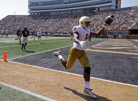 Notre Dame's Jafar Armstrong (8) celebrates after scoring a touchdown against Wake Forest in the first half of an NCAA college football game in Winston-Salem, N.C., Saturday, Sept. 22, 2018.