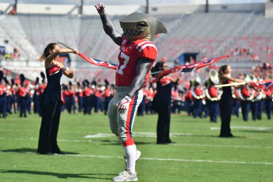 Ole Miss mascot Tony performs before the game against the Kent State Golden Flashes at Vaught-Hemingway Stadium.