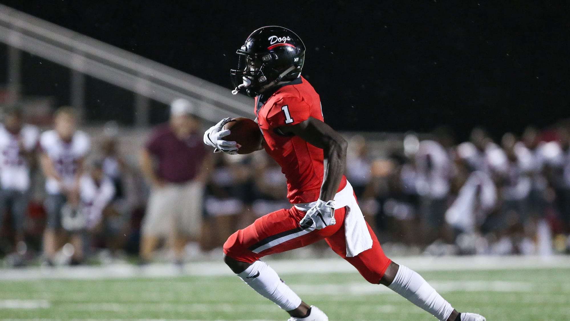 Brandon High School's Ashton Nickleberry (1) races for the end zone near the end of the first half. Terry played Brandon in a Class 6A football game Friday, September 21, 2018. Photo by Keith Warren