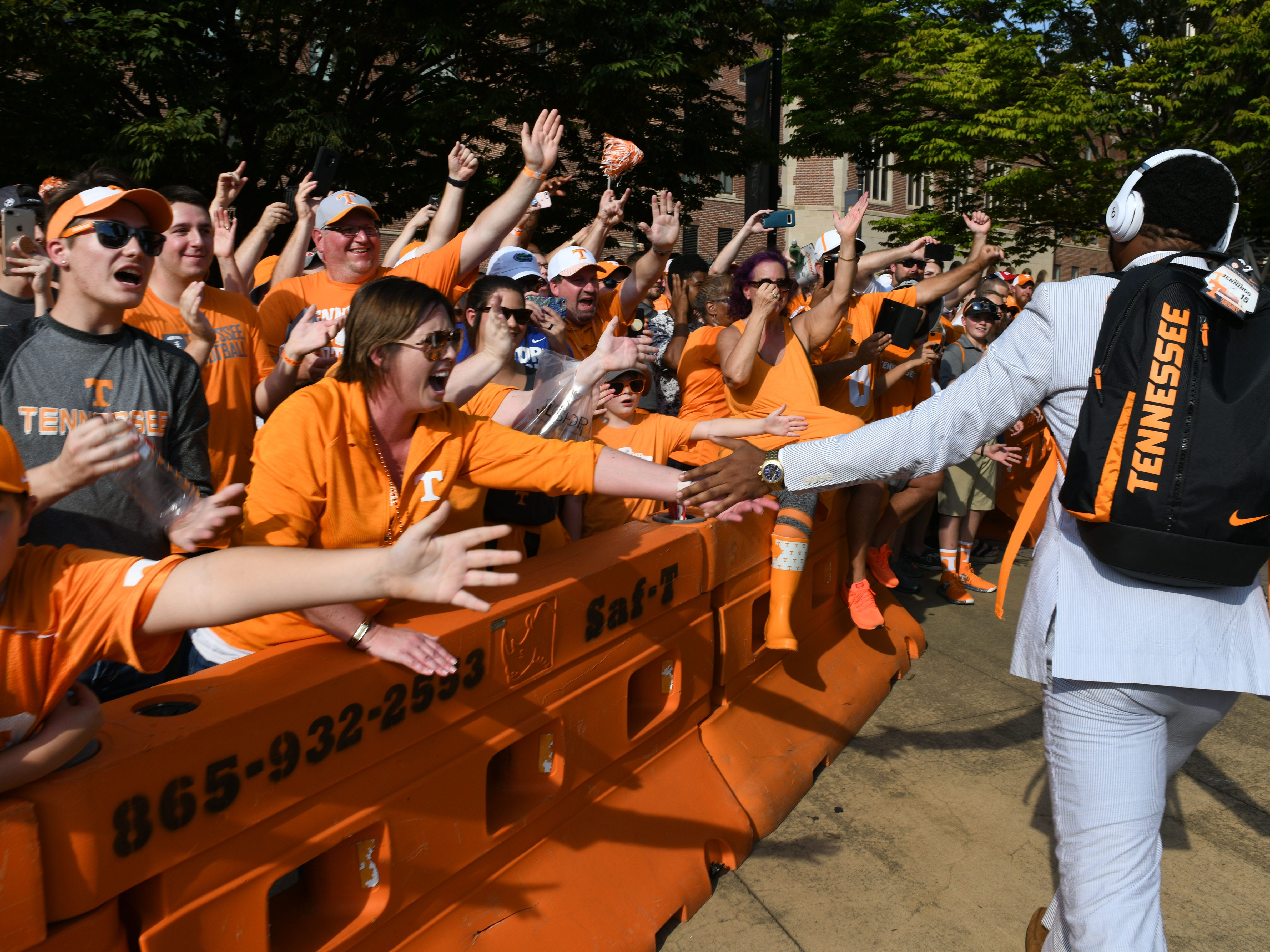 Fans and players during the Vol Walk before their game against Florida in Neyland Stadium Saturday, September 22, 2018 in Knoxville, Tenn.