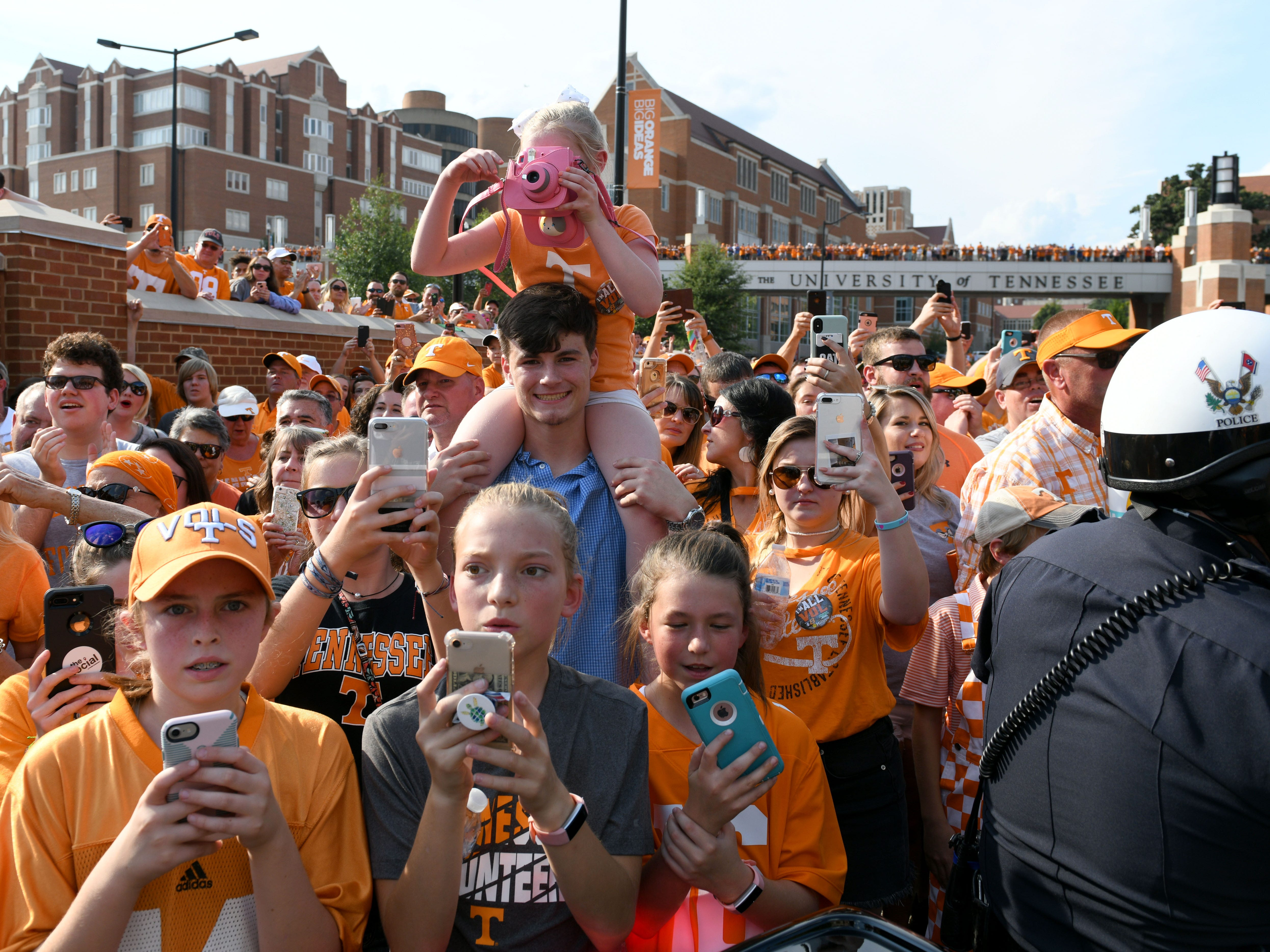 Fans taking photos during the Vol Walk before the game against Florida in Neyland Stadium Saturday, September 22, 2018 in Knoxville, Tenn.