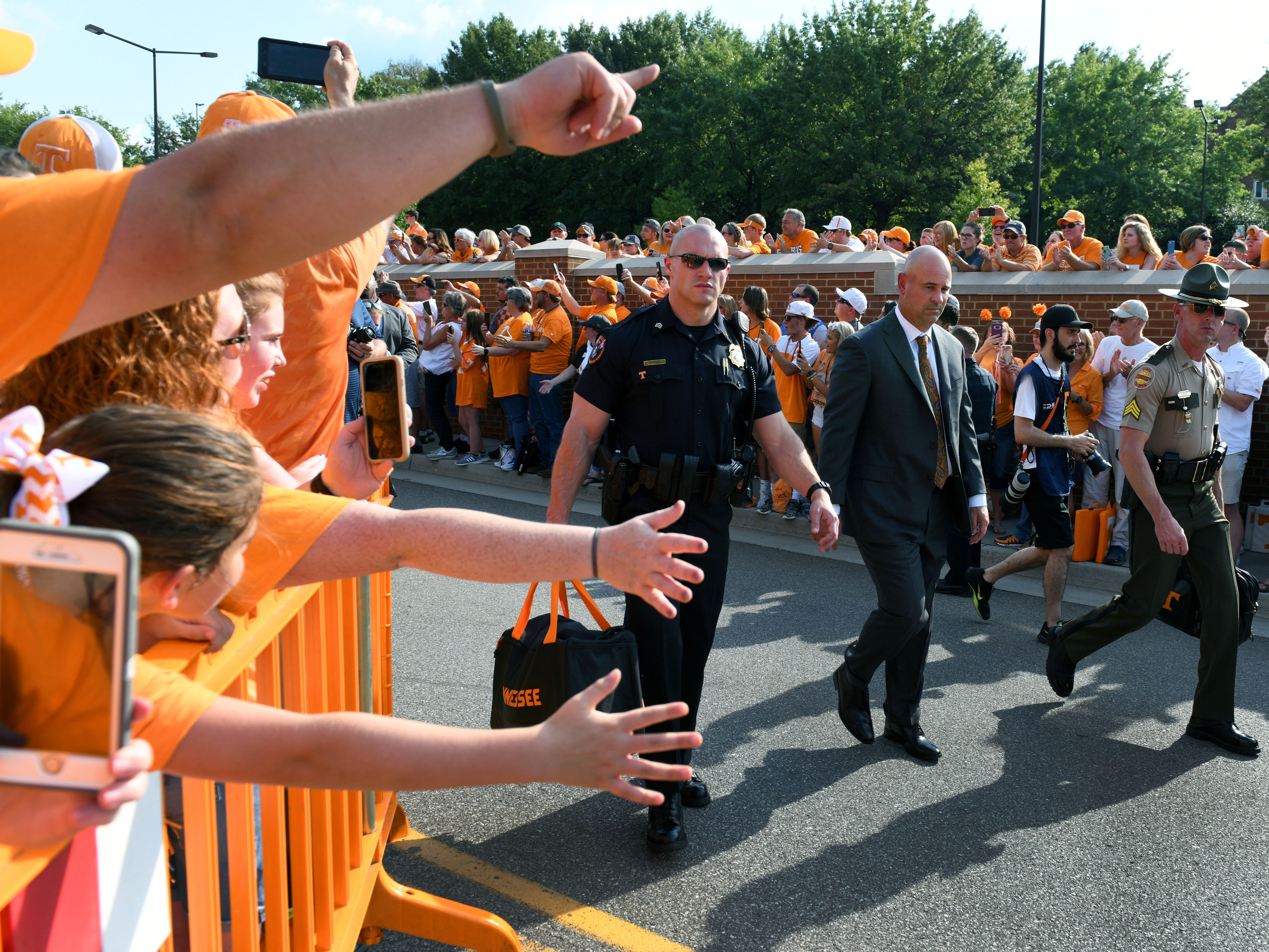 Tennessee Head Coach Jeremy Pruitt during the Vol Walk  before their game against Florida in Neyland Stadium Saturday, September 22, 2018 in Knoxville, Tenn.