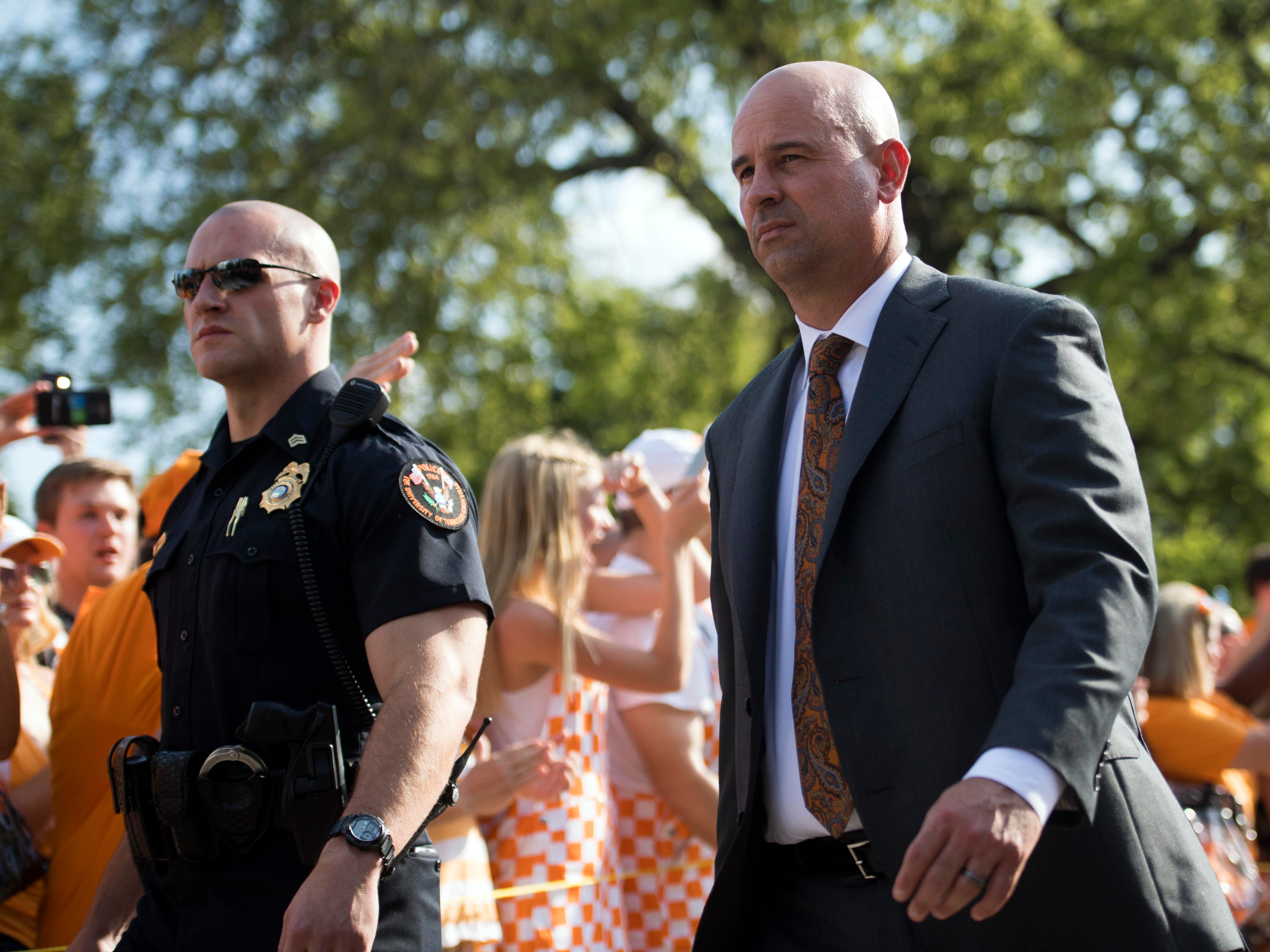 Tennessee Head Coach Jeremy Pruitt during the Vole Walk for the Florida game on Saturday, September 22, 2018.
