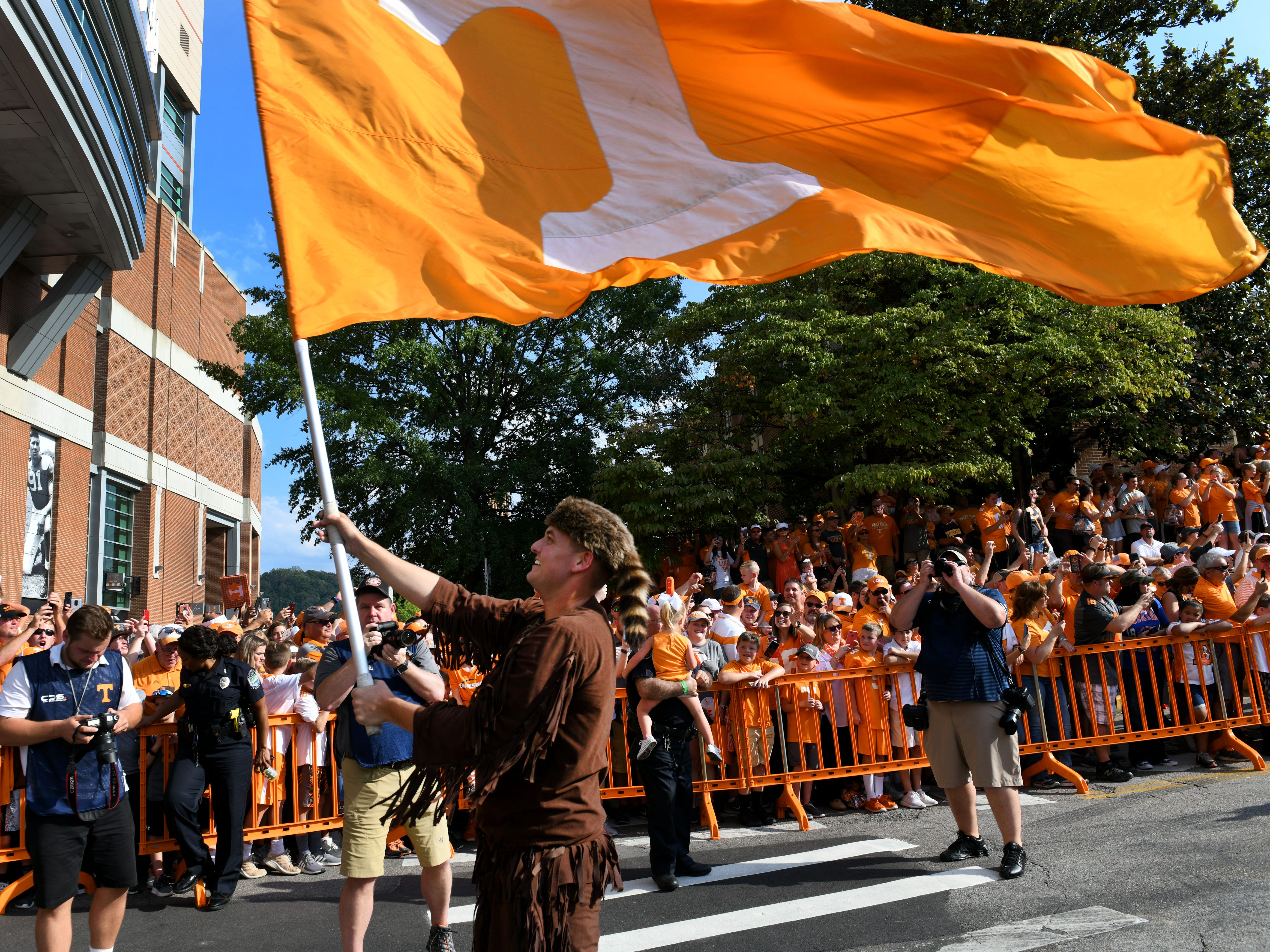 The Tennessee Volunteer during pregame activities before their game against Florida in Neyland Stadium Saturday, September 22, 2018 in Knoxville, Tenn.