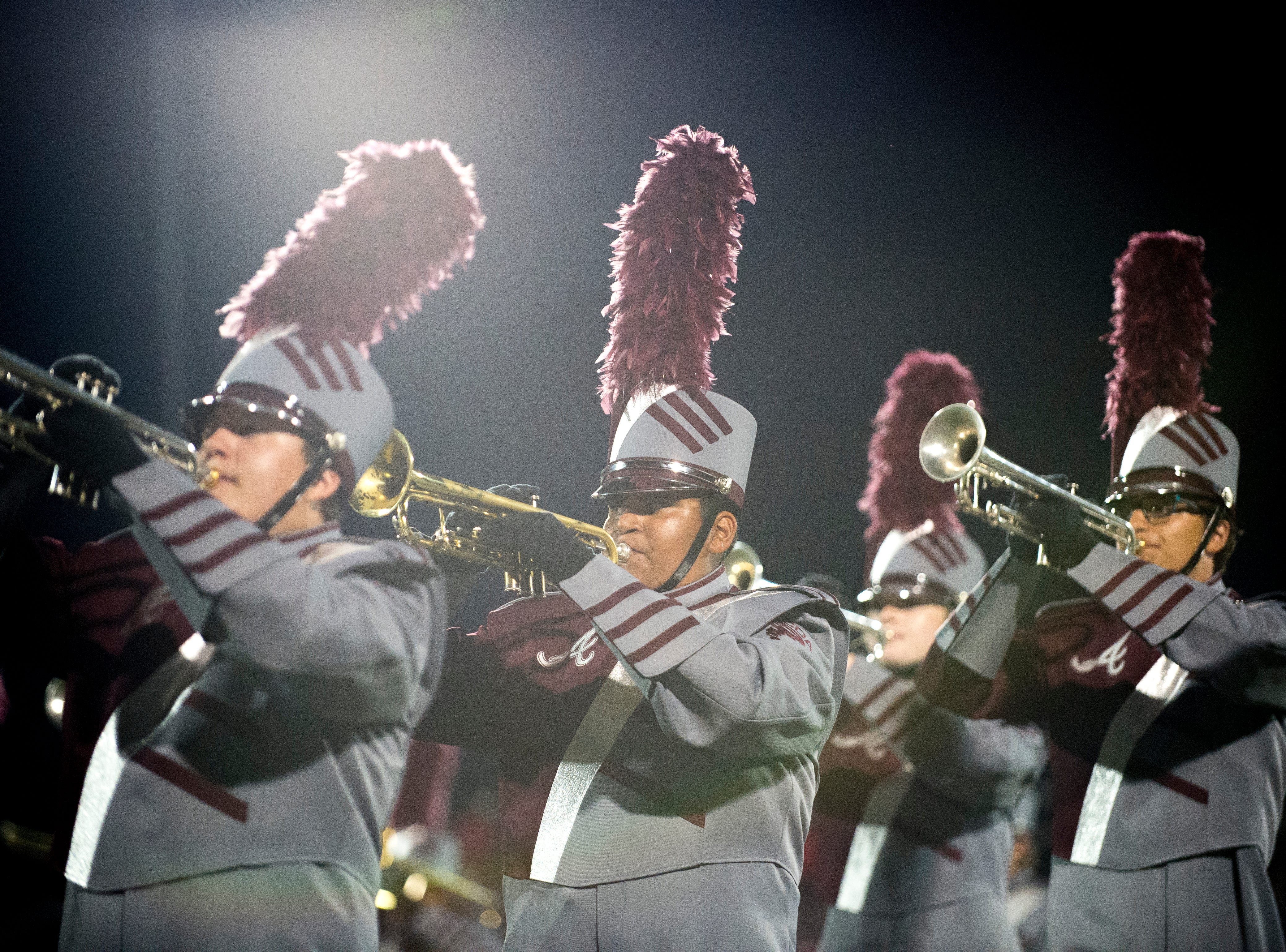 The Alcoa marching band performs at halftime during a game between Alcoa and Dobyns-Bennett at Alcoa High School in Alcoa, Tennessee on Friday, September 21, 2018.