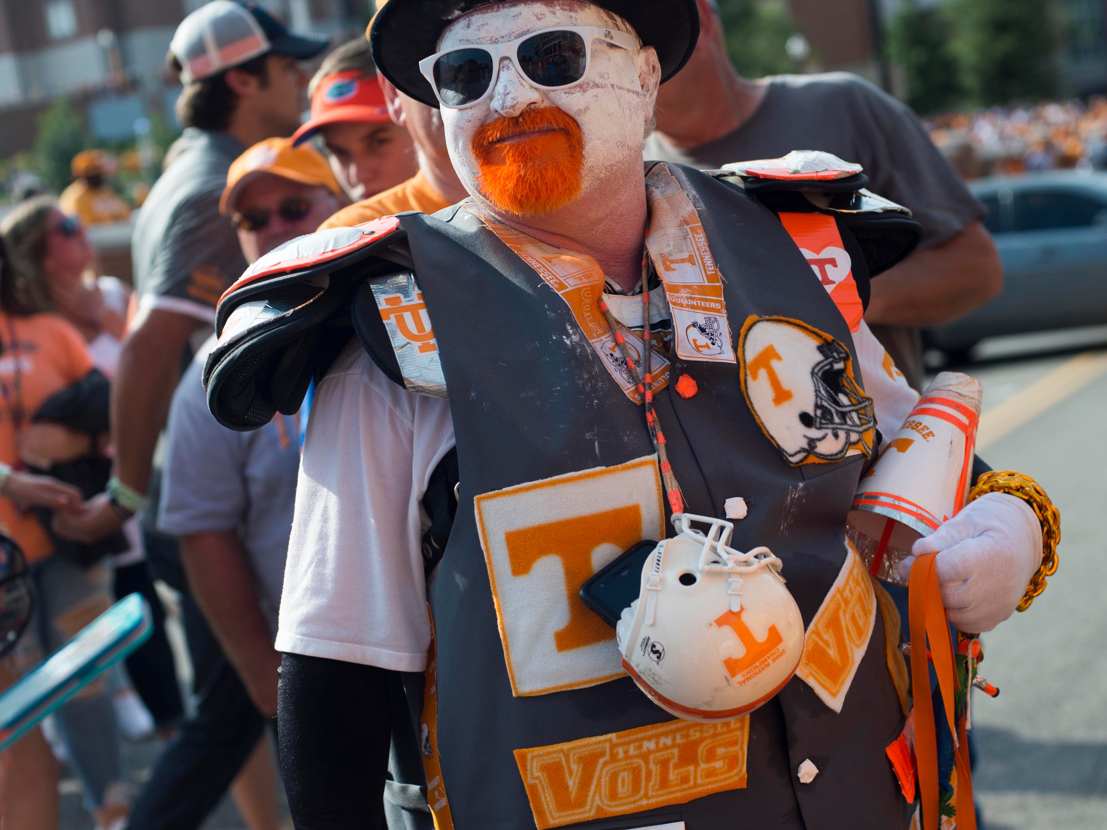 An avid Tennessee fan waits for the start of the game against Florida on Saturday, September 22, 2018.