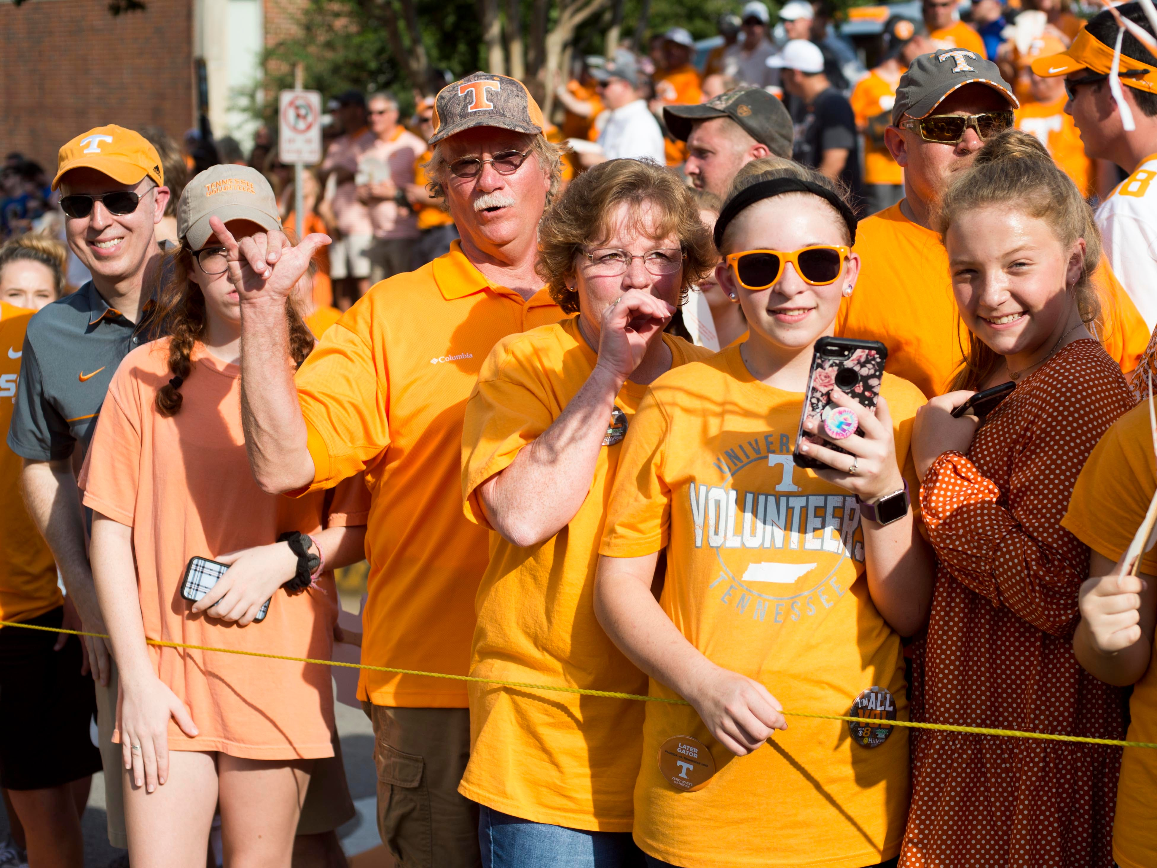 Tennessee fans greet players as they make their way to Neyland Stadium during the Vol Walk on Saturday, September 22, 2018.