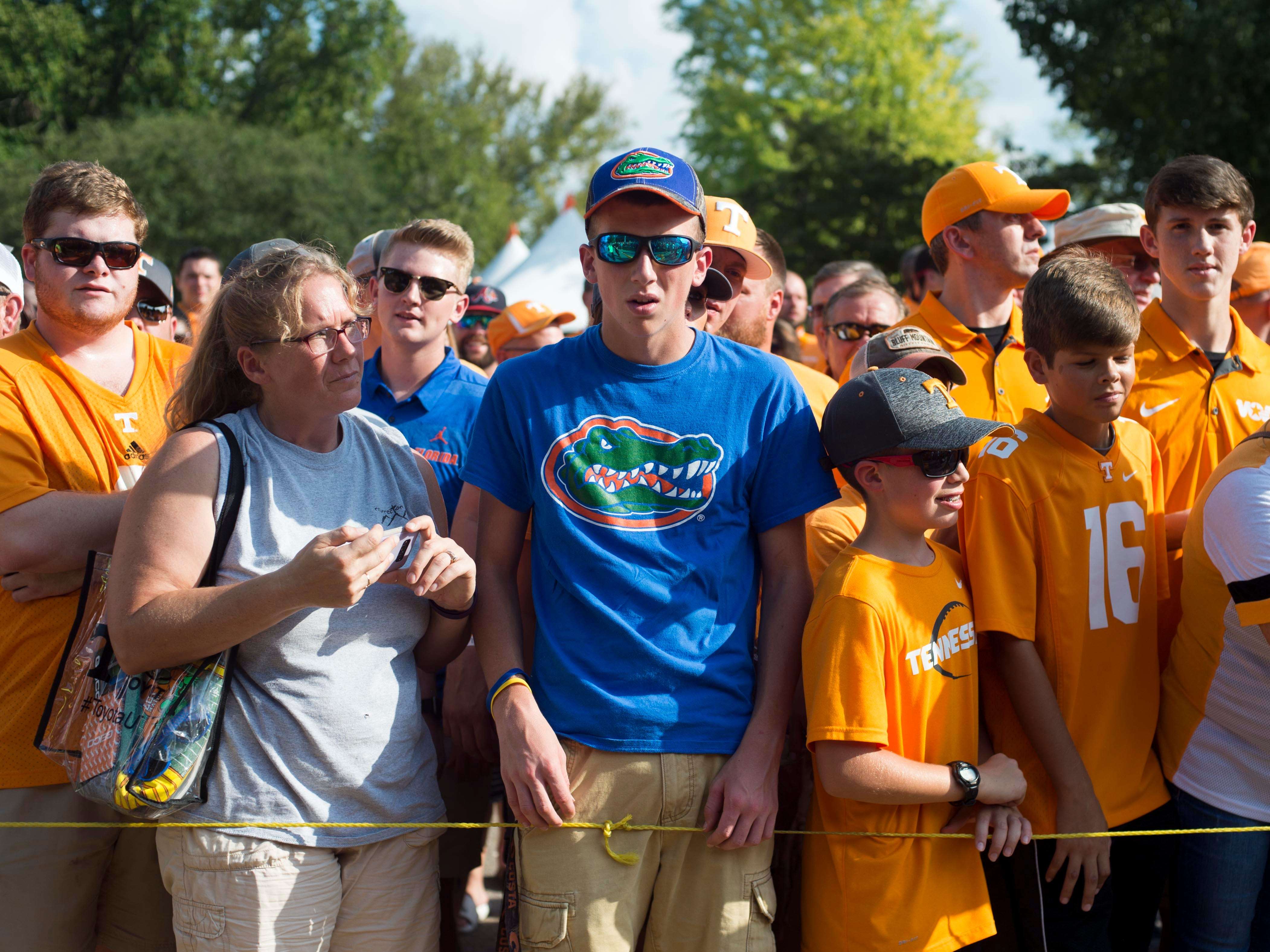 A Florida fan among Tennessee fans at the Vol Walk on Saturday, September 22, 2018.