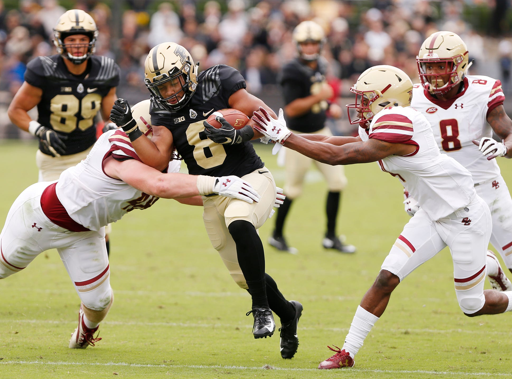 Markell Jones of Purdue on a first half carry against Boston College Saturday, September 22, 2018, in Ross-Ade Stadium.
