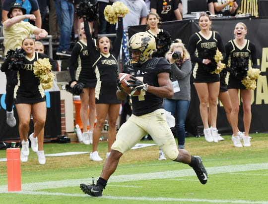 Rondale Moore of Purdue with his second touchdown of the first half against Boston College Saturday, September 22, 2018, in Ross-Ade Stadium.