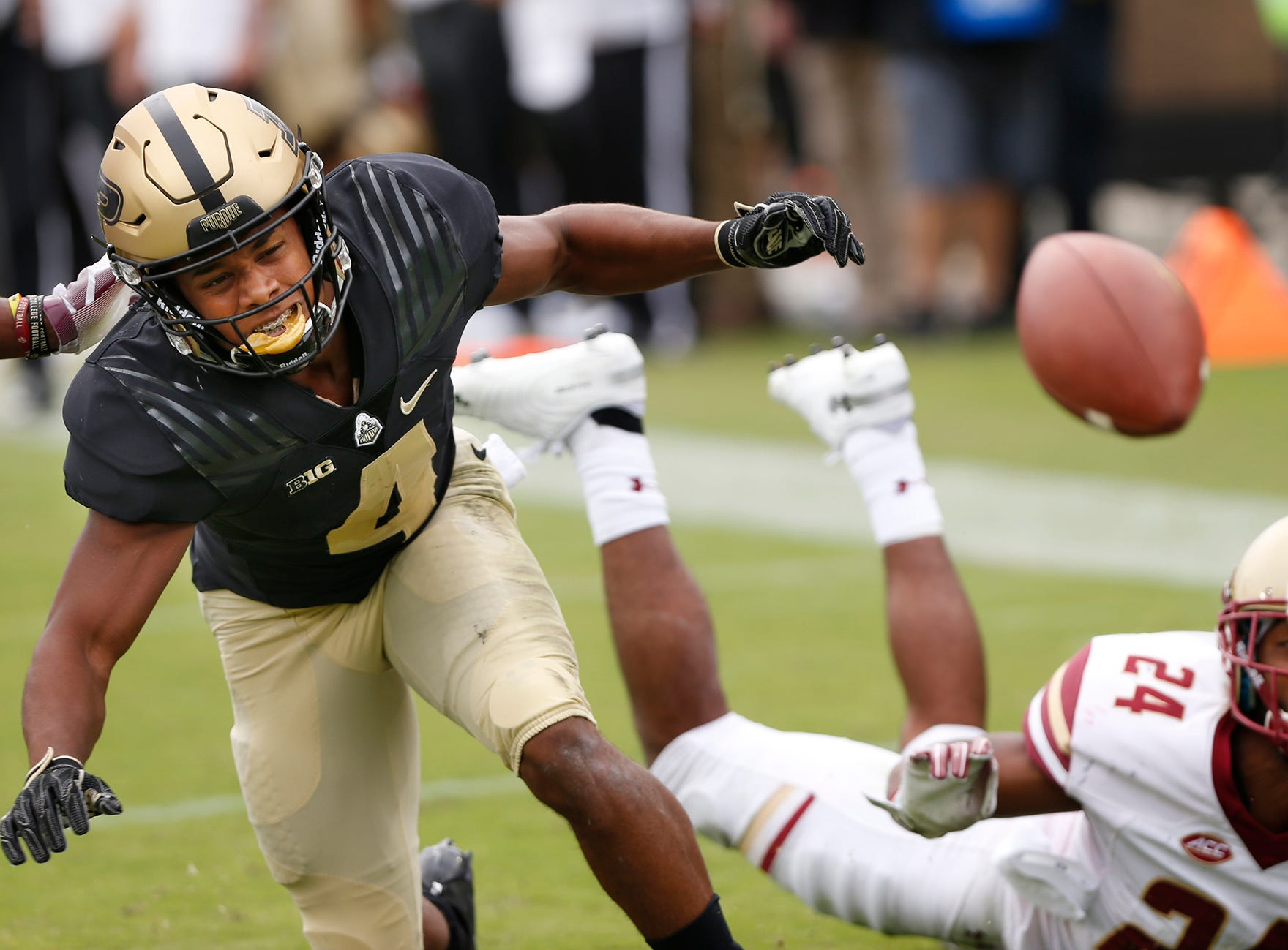 Rondale Moore of Purdue can't come up with the catch on a pass in the second quarter against Boston College Saturday, September 22, 2018, in Ross-Ade Stadium. Purdue defeated Boston College 30-13.