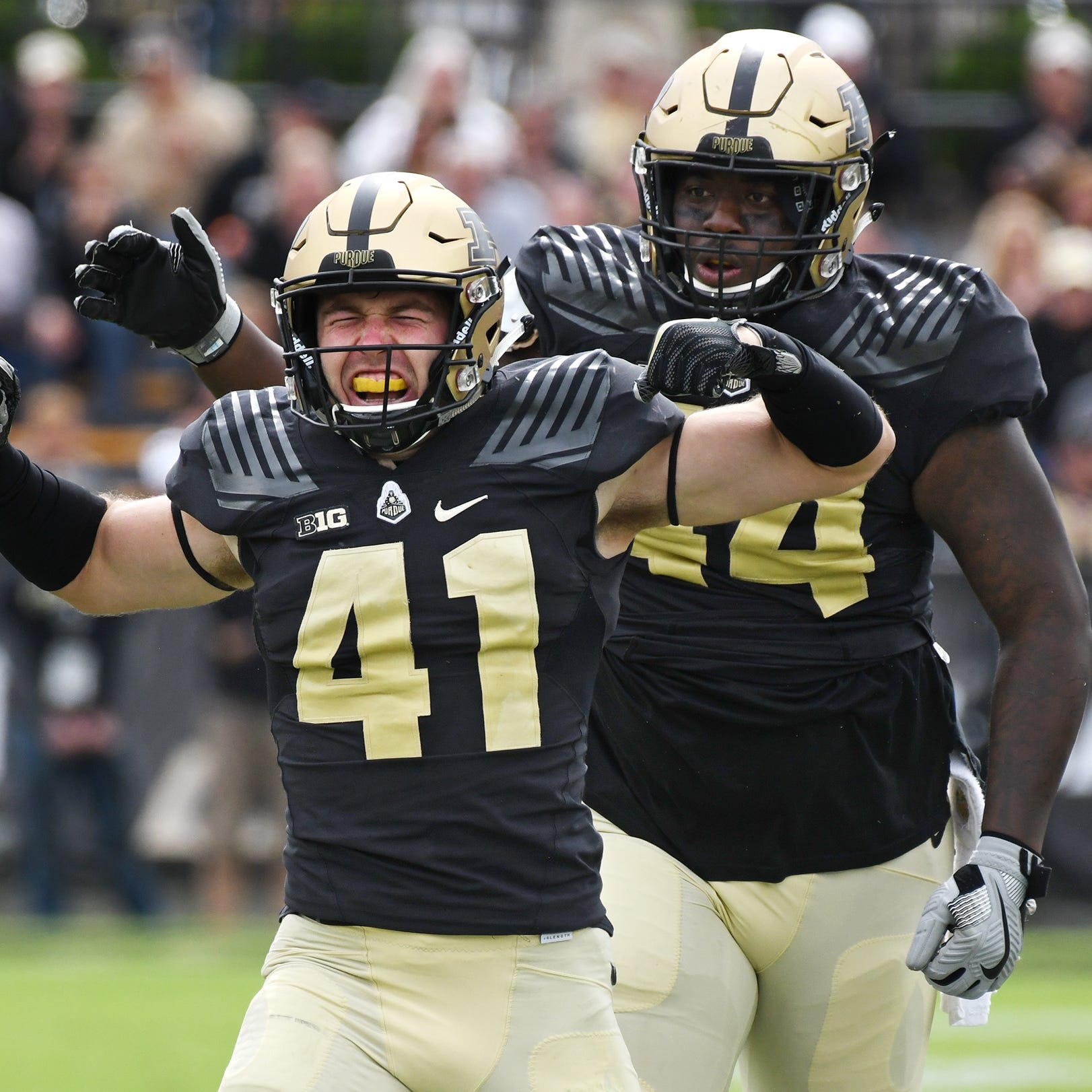 Jacob Thieneman reacts after sacking Boston College quarterback Anthony Brown in the first half Saturday, September 22, 2018, in Ross-Ade Stadium.