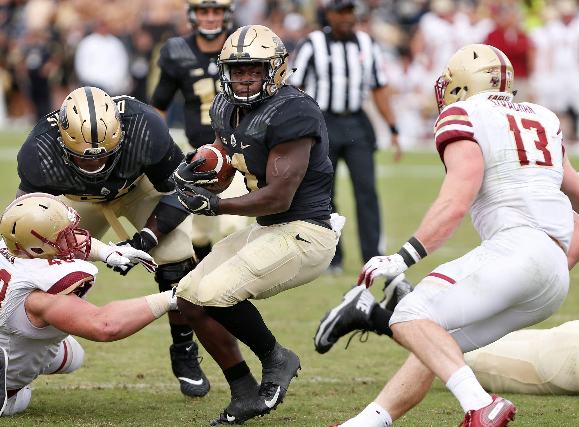 D. J. Knox of Purdue with a second half carry against Boston College Saturday, September 22, 2018, in Ross-Ade Stadium. Purdue defeated Boston College 30-13.