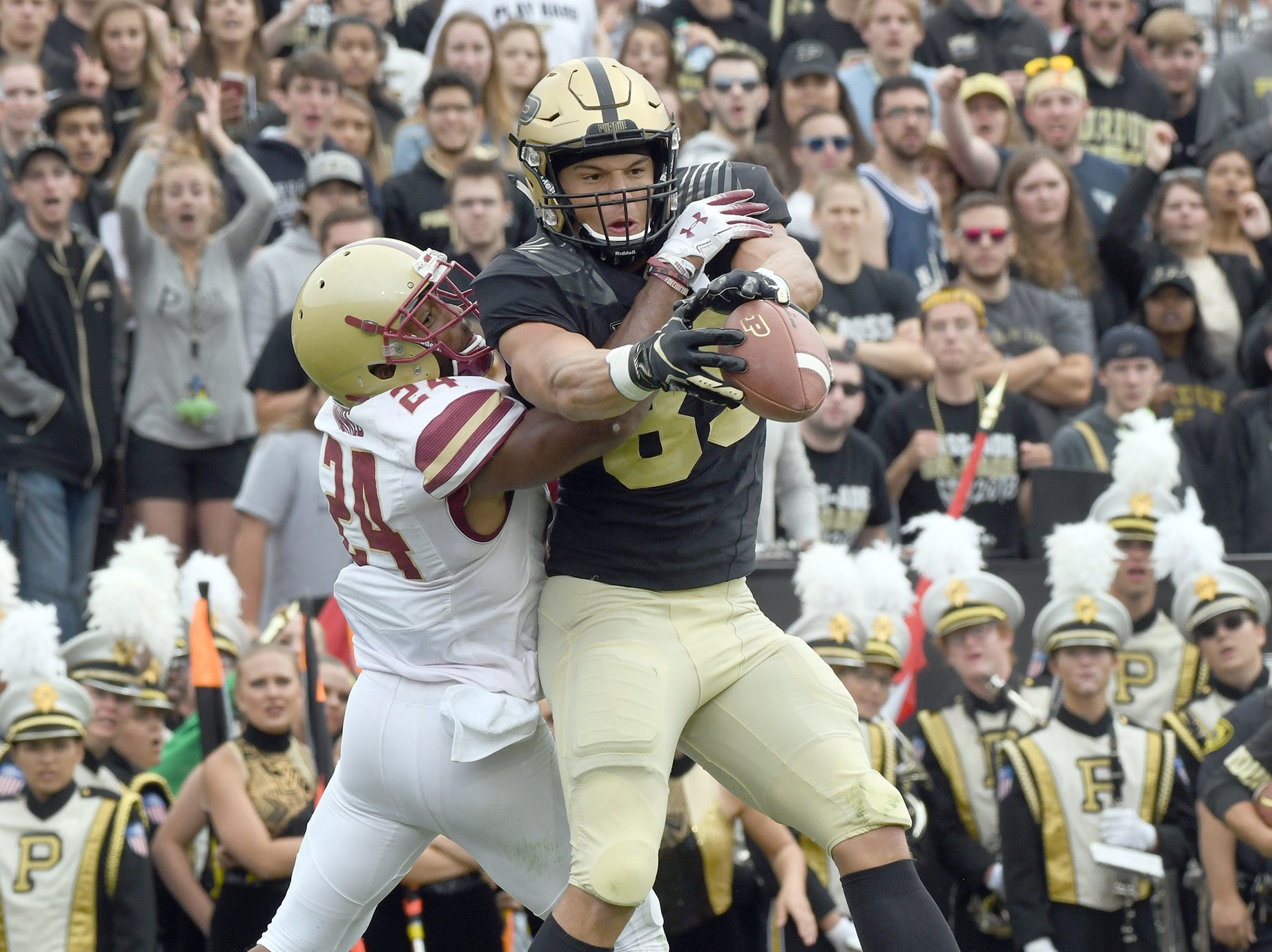 Purdue's Brycen Hopkins can't hang on to the ball in Purdue's 30-13 win in West Lafayette on Saturday September 22, 2018.