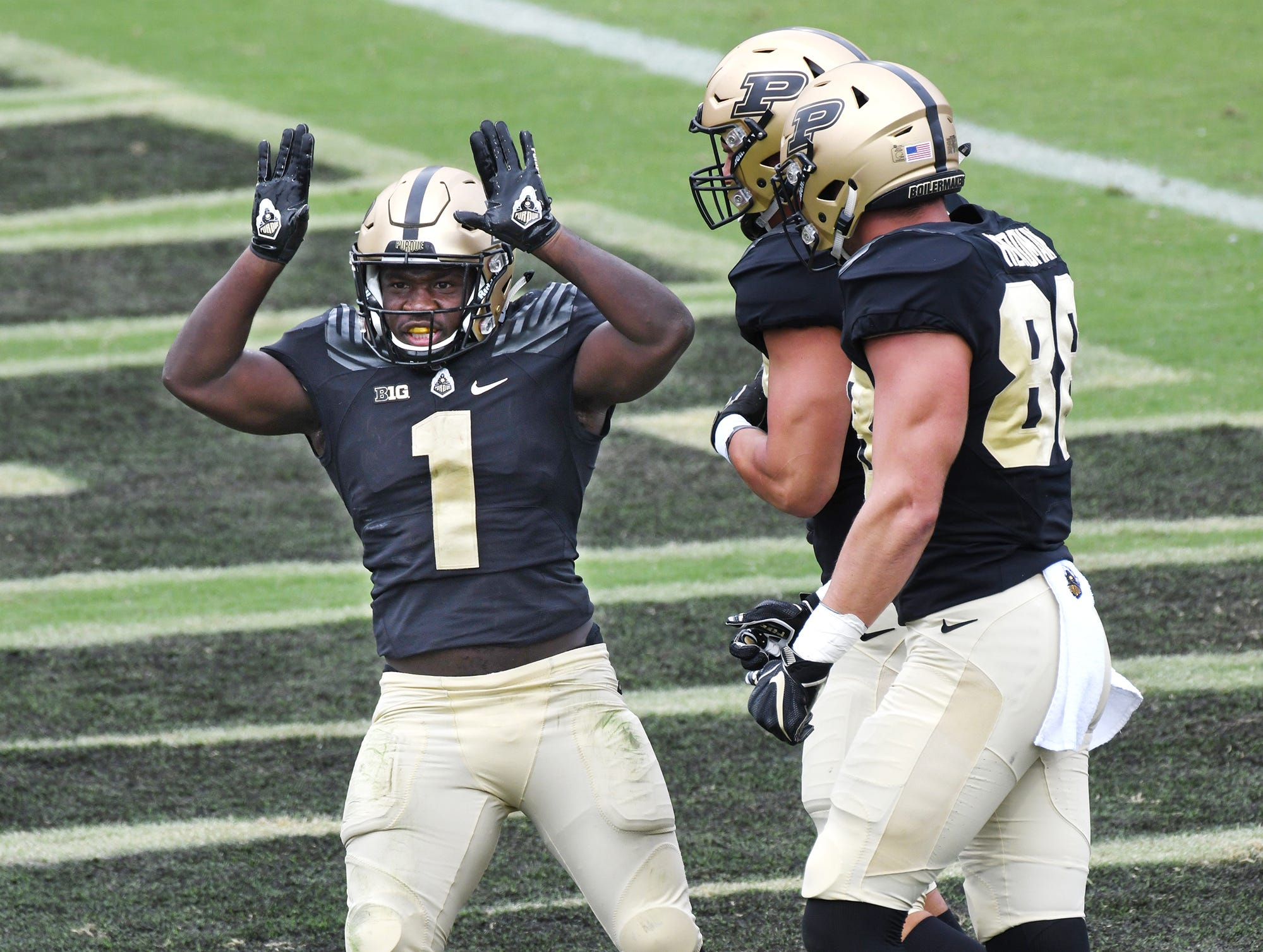 D. J. Knox of Purdue celebrates after his rushing touchdown in the first half against Boston College Saturday, September 22, 2018, in Ross-Ade Stadium.