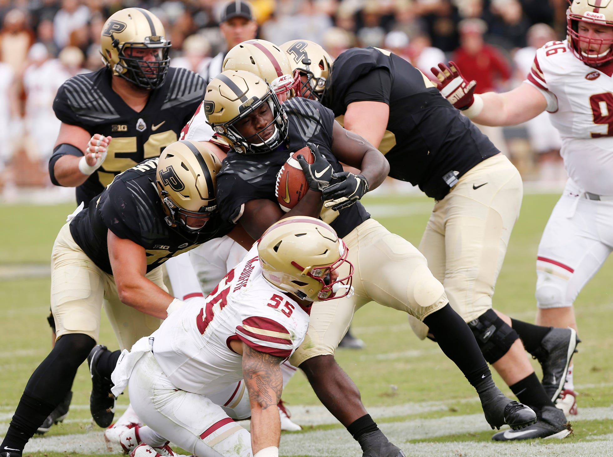 D. J. Knox with a second half carry against Boston College Saturday, September 22, 2018, in Ross-Ade Stadium. Purdue defeated Boston College 30-13.