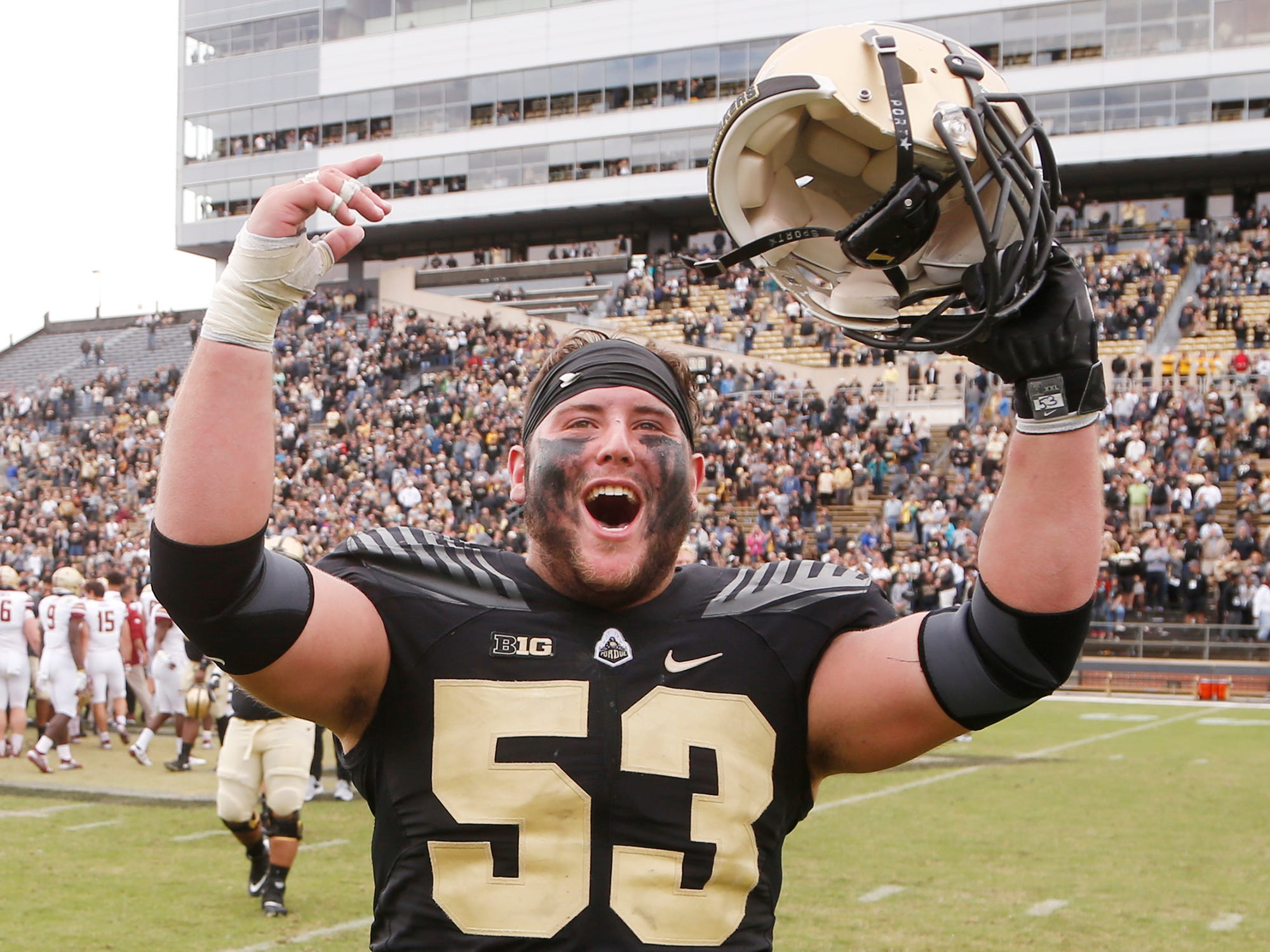 Purdue center Kirk Barron celebrates after the Boilermakers defeated Boston College 30-13 Saturday, September 22, 2018, in Ross-Ade Stadium.