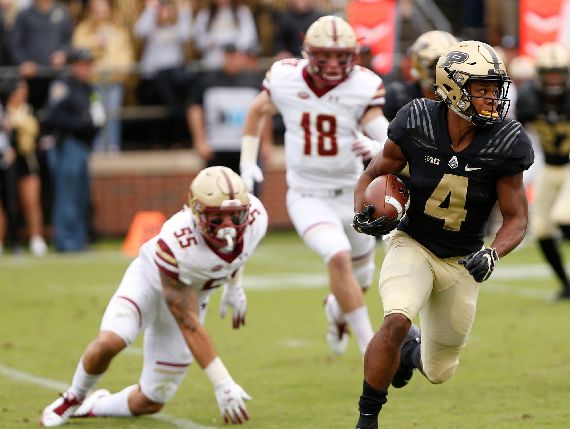 Rondale Moore of Purdue on a first half kick return against Boston College Saturday, September 22, 2018, in Ross-Ade Stadium.