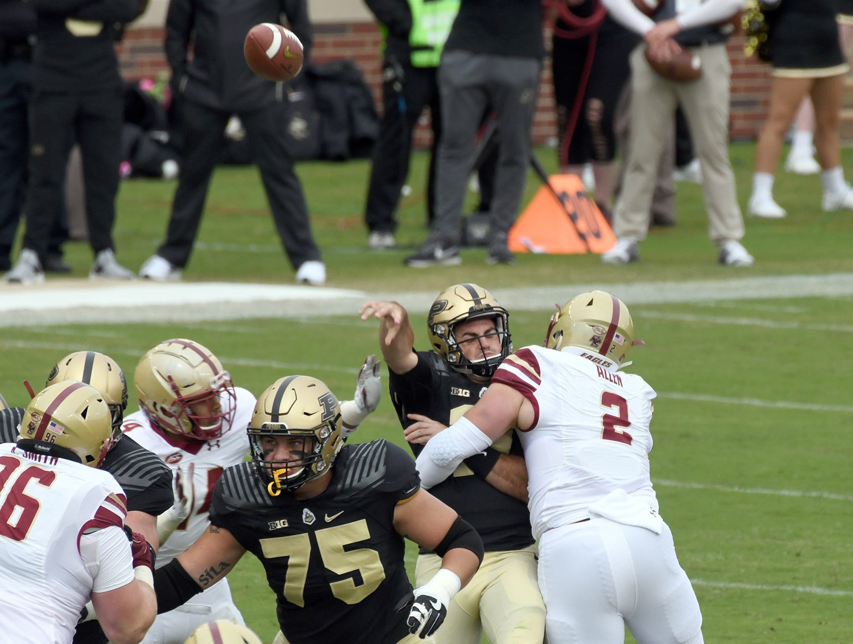 Purdue's David Blough is hit while throwing in Purdue's 30-13 win in West Lafayette on Saturday September 22, 2018.