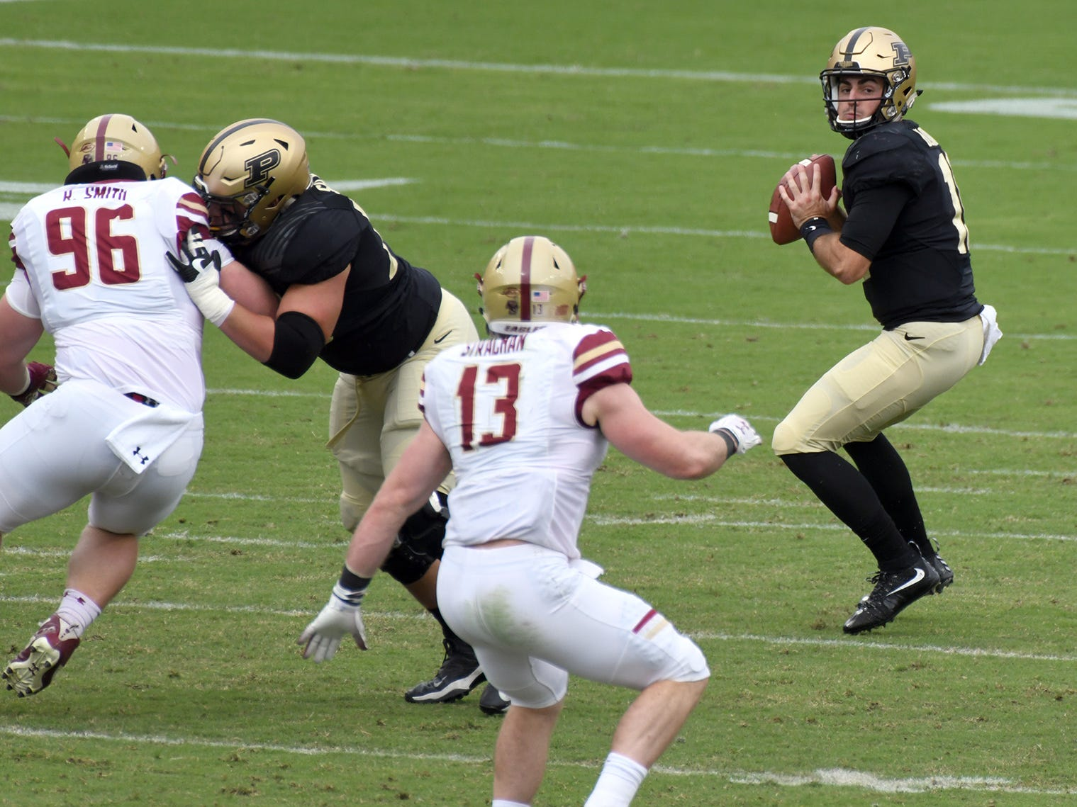 Purdue's David Blough in  the pocket in Purdue's 30-13 win in West Lafayette on Saturday September 22, 2018.
