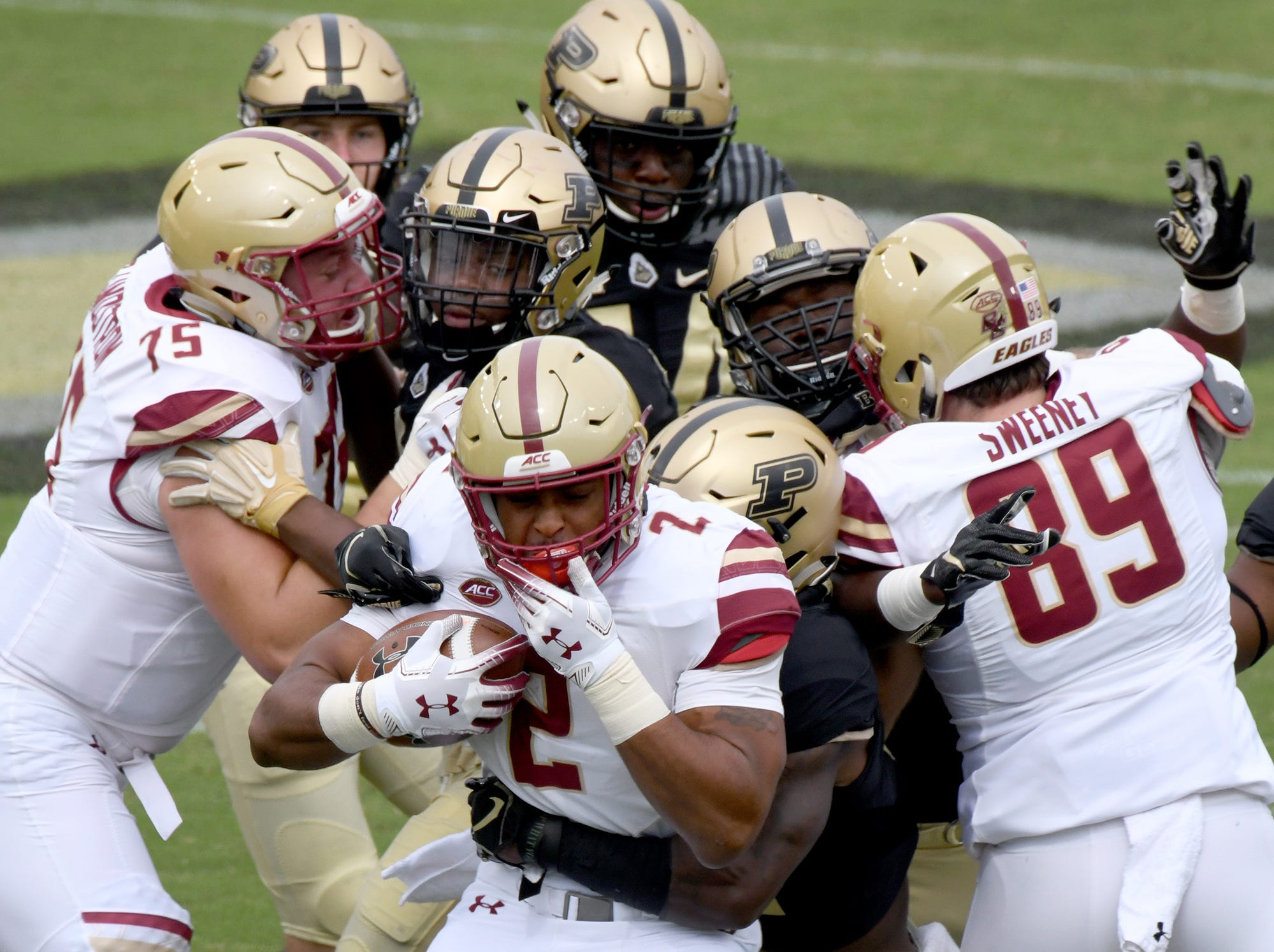 Boston College running back AJ Dillion is stacked up at the line of scrimmage in Purdue's 30-13 win in West Lafayette on Saturday September 22, 2018.