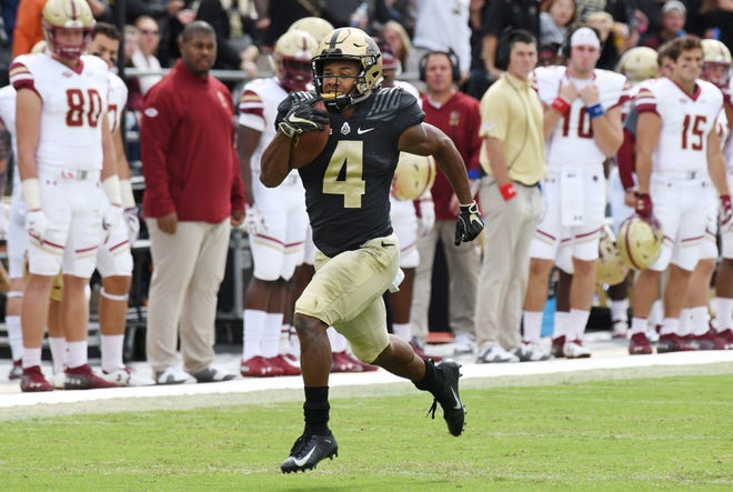 Rondale Moore of Purdue sprints to the end zone on a touchdown reception in the firs half against Boston College.