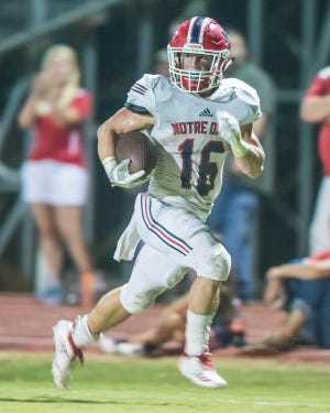 Noah Bourgeois with another Pios' touchdown on Friday night as Notre Dame takes on Catholic-NI, September 21, 2018.