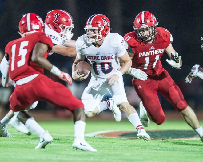 How the Catholic High of New Iberia defense combats the dual-threat ability of Notre Dame quarterback Ben Broussard (10) should play a big role in determining the outcome of Thursday's Division III state finals game in the Superdome.