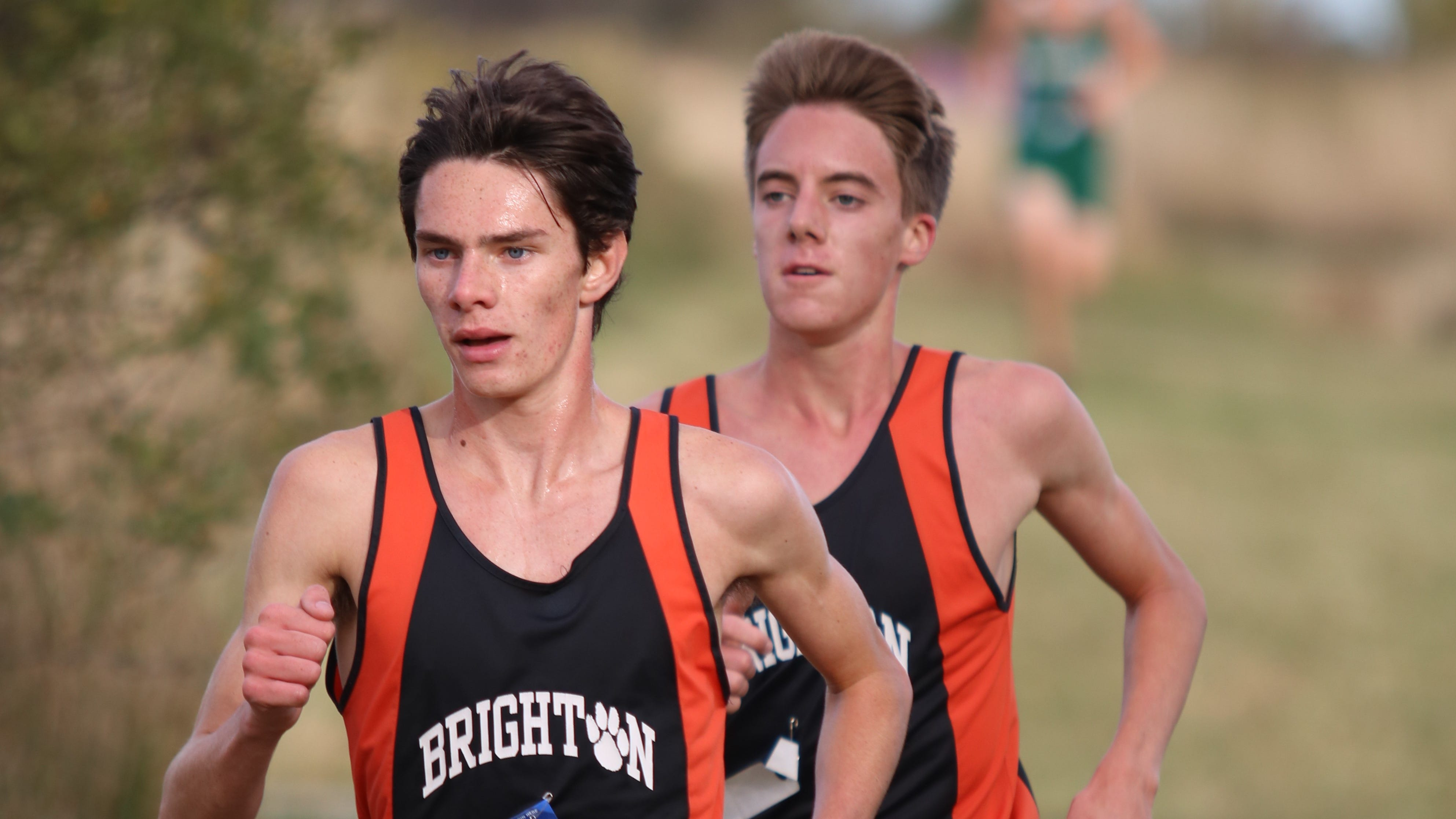 Brighton's Zach Stewart (left) and Jack Spamer (right) broke the school record in the Monroe Jefferson Invitational on Saturday, Sept. 22, 2018.