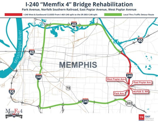 The red strip of road on the map will be closed the weekend of September 21-23, but Poplar Avenue will be open, TDOT said.