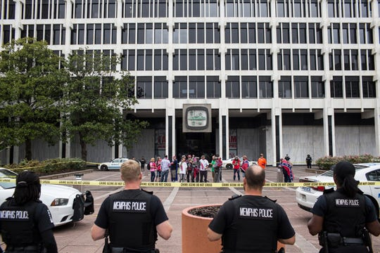 September 22 2018 - Memphis Police separate counter-protesters from members of the Confederate 901 group as they protest outside of City Hall on Saturday afternoon. The Confederate 901 group is upset over the July 28 removal of additional Confederate memorabilia from a Memphis park in addition to the removal of statues of Confederate President Jefferson Davis and Gen. Nathan Bedford Forrest.