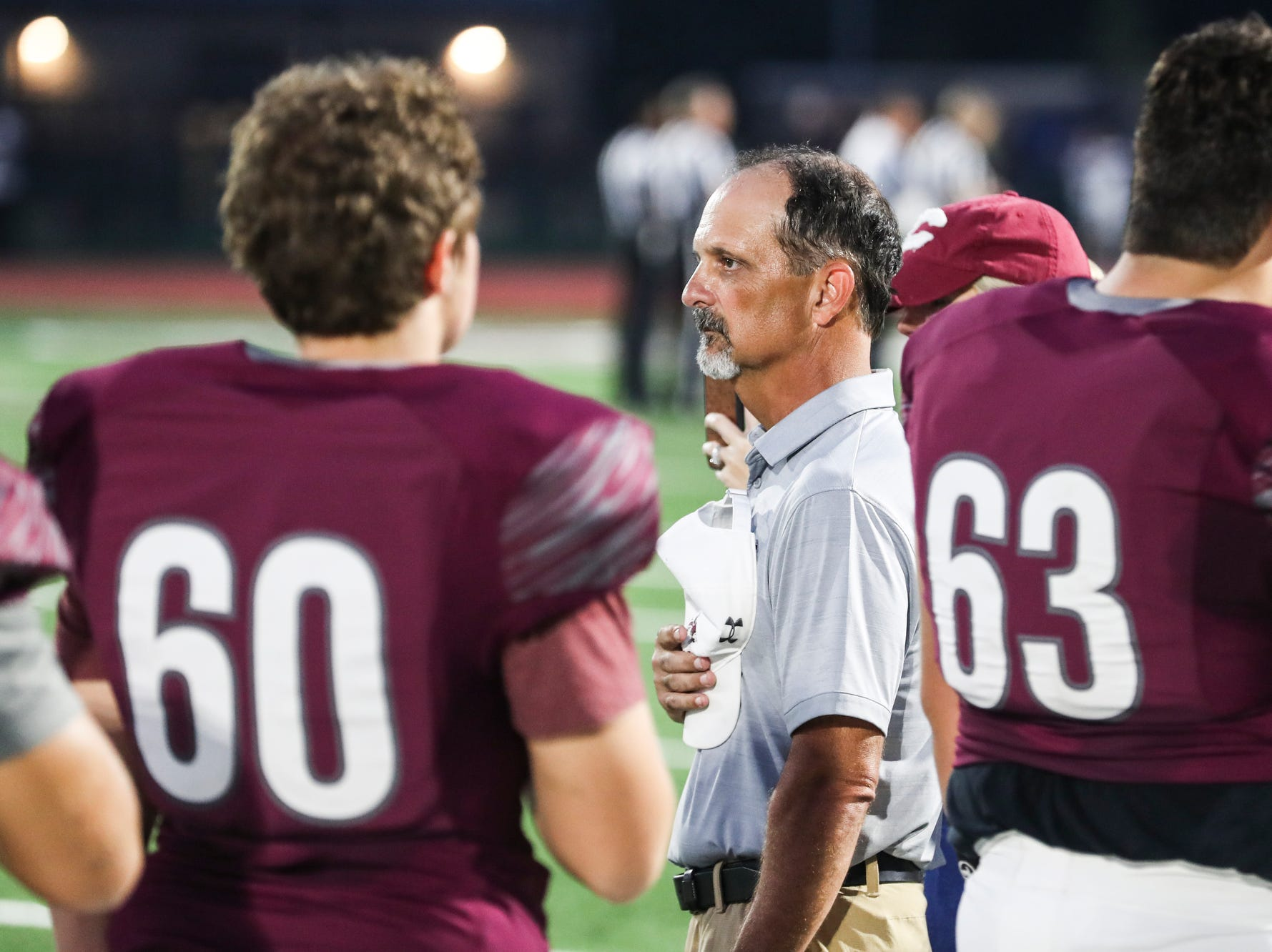 September 21 2018 - Collierville's head coach Mike O'Neill before the start of Friday night's game versus Wooddale at Collierville High School.