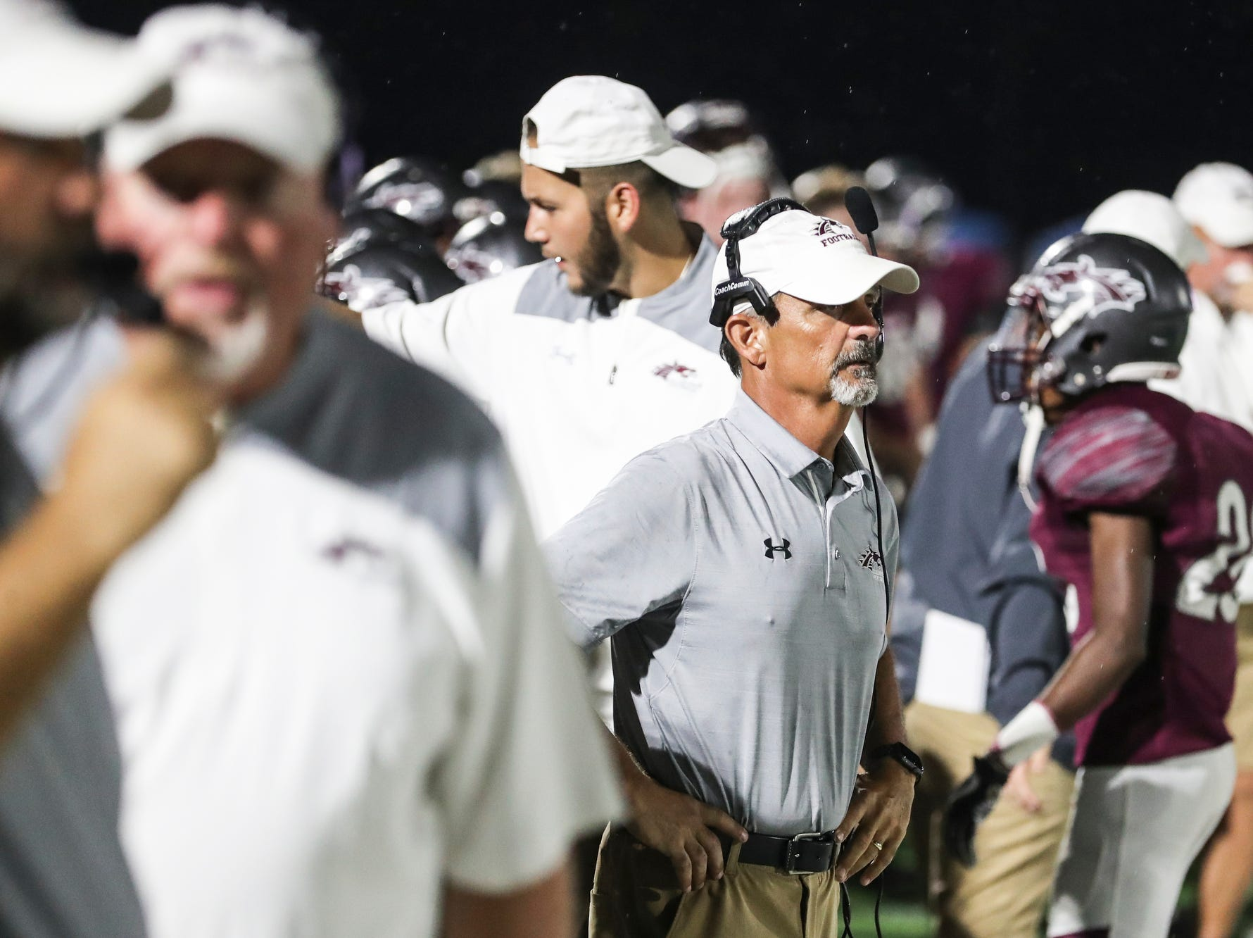 September 21 2018 - Collierville's head coach Mike O'Neill watches his players during Friday night's game versus Wooddale at Collierville High School.
