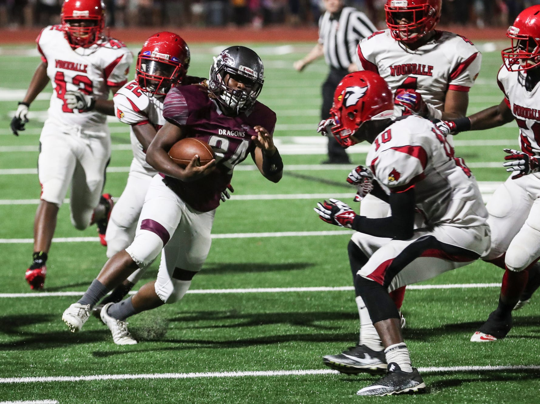 September 21 2018 - Collierville's LaDarin Brown runs with the ball during Friday night's game versus Wooddale at Collierville High School.