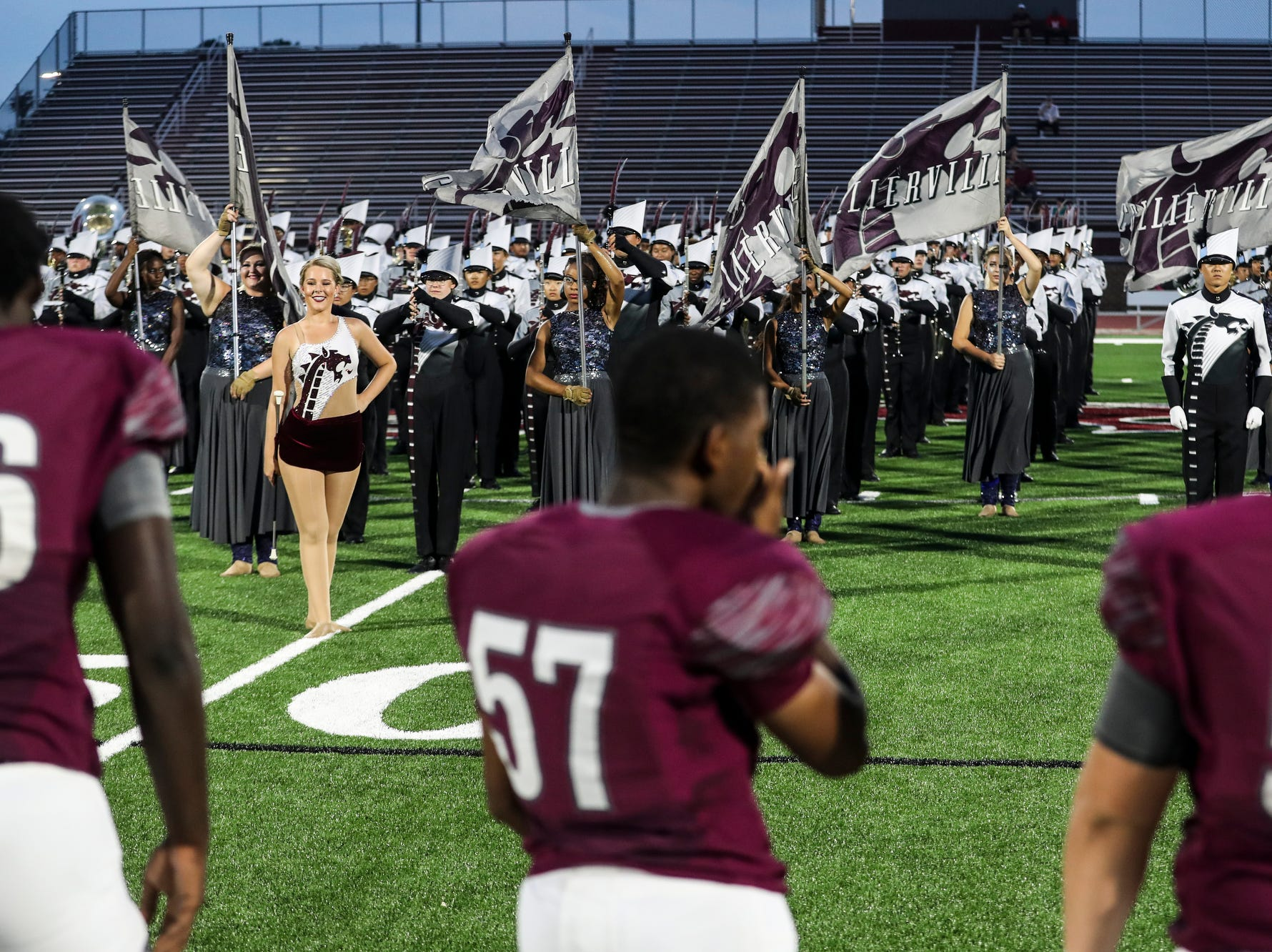 September 21 2018 - The Collierville High School marching band takes to the field before the start of Friday night's game versus Wooddale at Collierville High School.